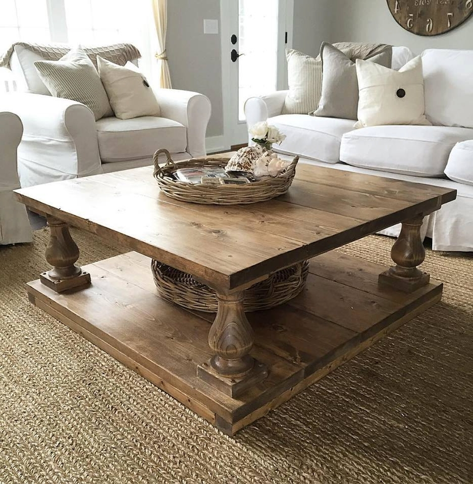 Large Square Rustic Baluster Wide Plank Coffee Table (View 2 of 20)