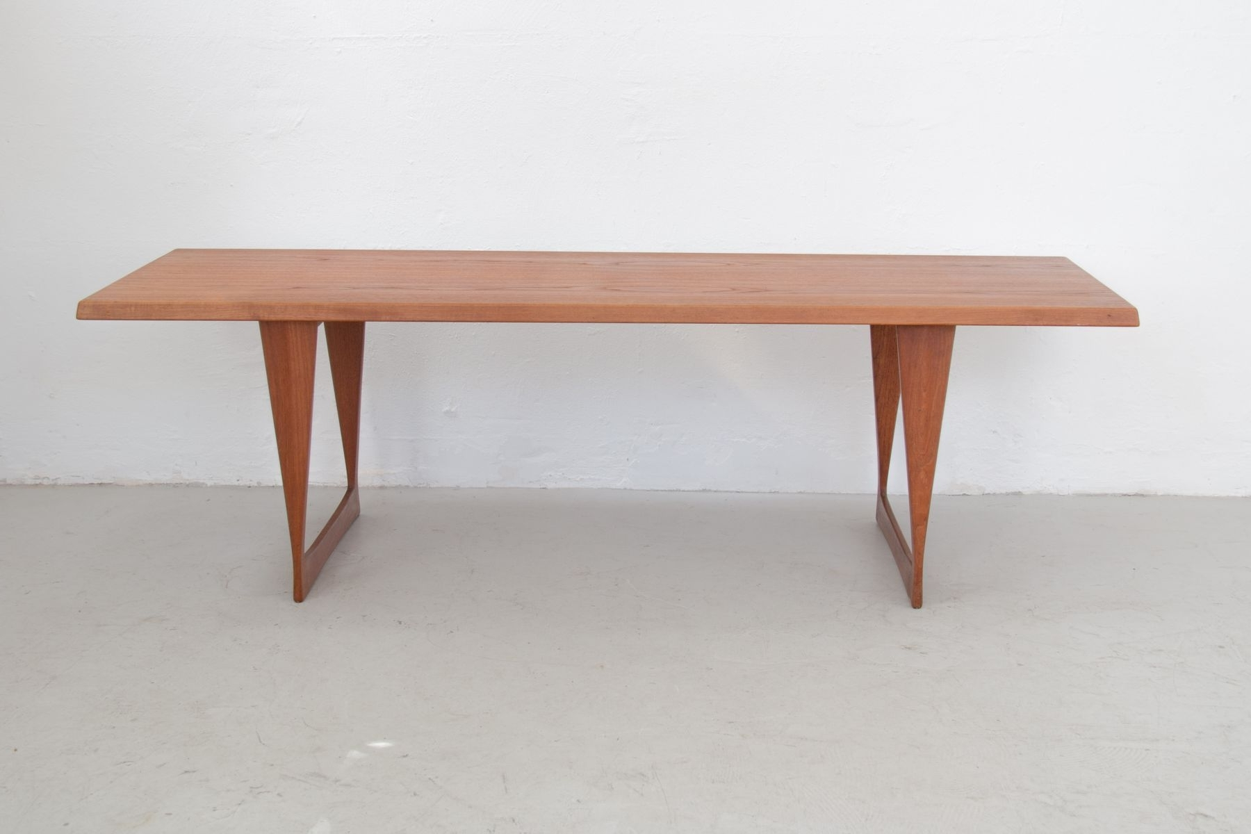 Large Vintage Teak Coffee Table With Skid Feet For Sale At Pamono Pertaining To Newest Large Teak Coffee Tables (View 10 of 20)