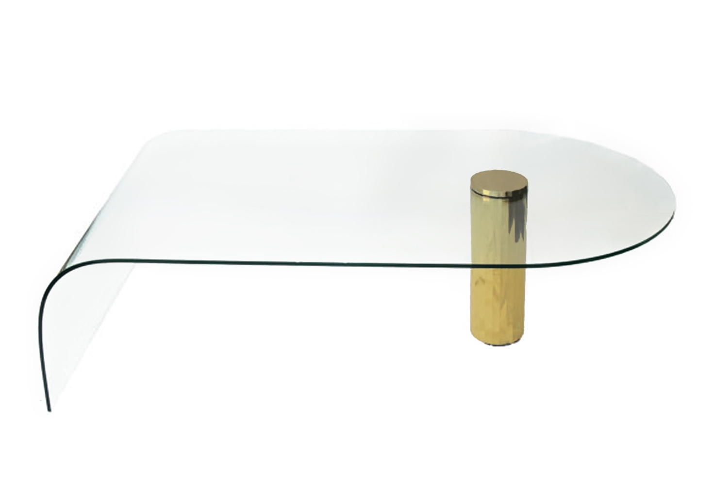 Latest Acrylic Glass And Brass Coffee Tables Throughout Gorgeous Glass Waterfall Coffee Table With Coffee Table Surprising (View 11 of 20)
