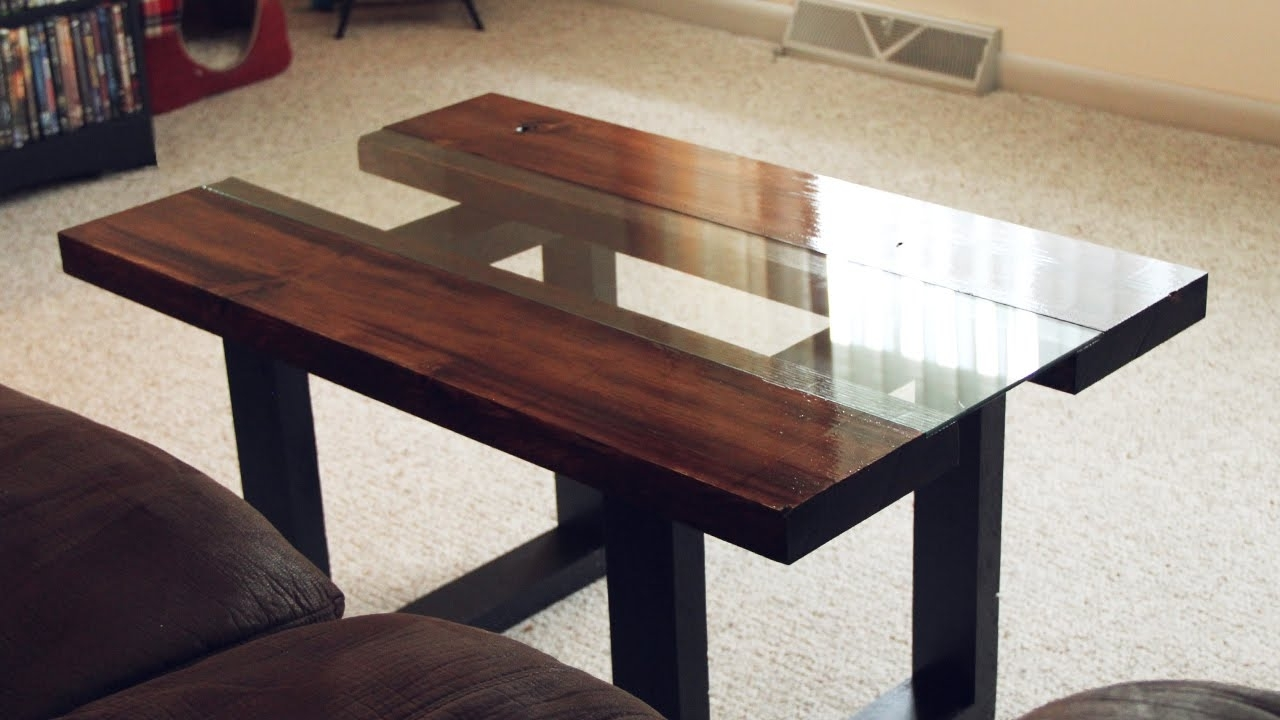 Latest Chiseled Edge Coffee Tables In Glass & Wood Coffee Table With Faux Metal Legs – Youtube (View 9 of 20)