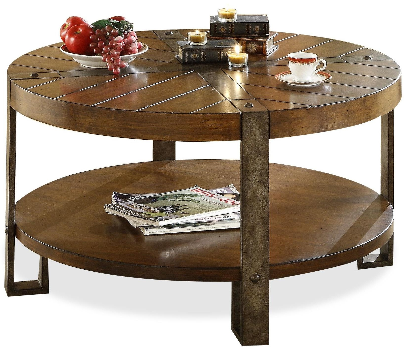 Latest Exton Cocktail Tables Inside Riverside Furniture Sierra Round Wooden Coffee Table With Metal Legs (View 2 of 20)