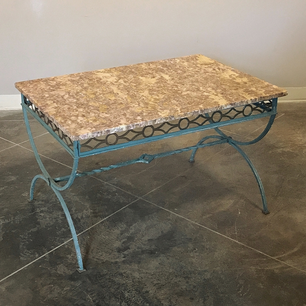 Latest Iron Marble Coffee Tables With Antique Country French Wrought Iron Marble Top Coffee Table – Inessa (View 11 of 20)