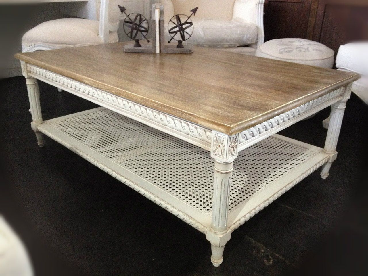 Latest Limewash Coffee Tables Pertaining To Hamptons Rattan Coffee Table – Distressed White With Limewash Top (View 2 of 20)