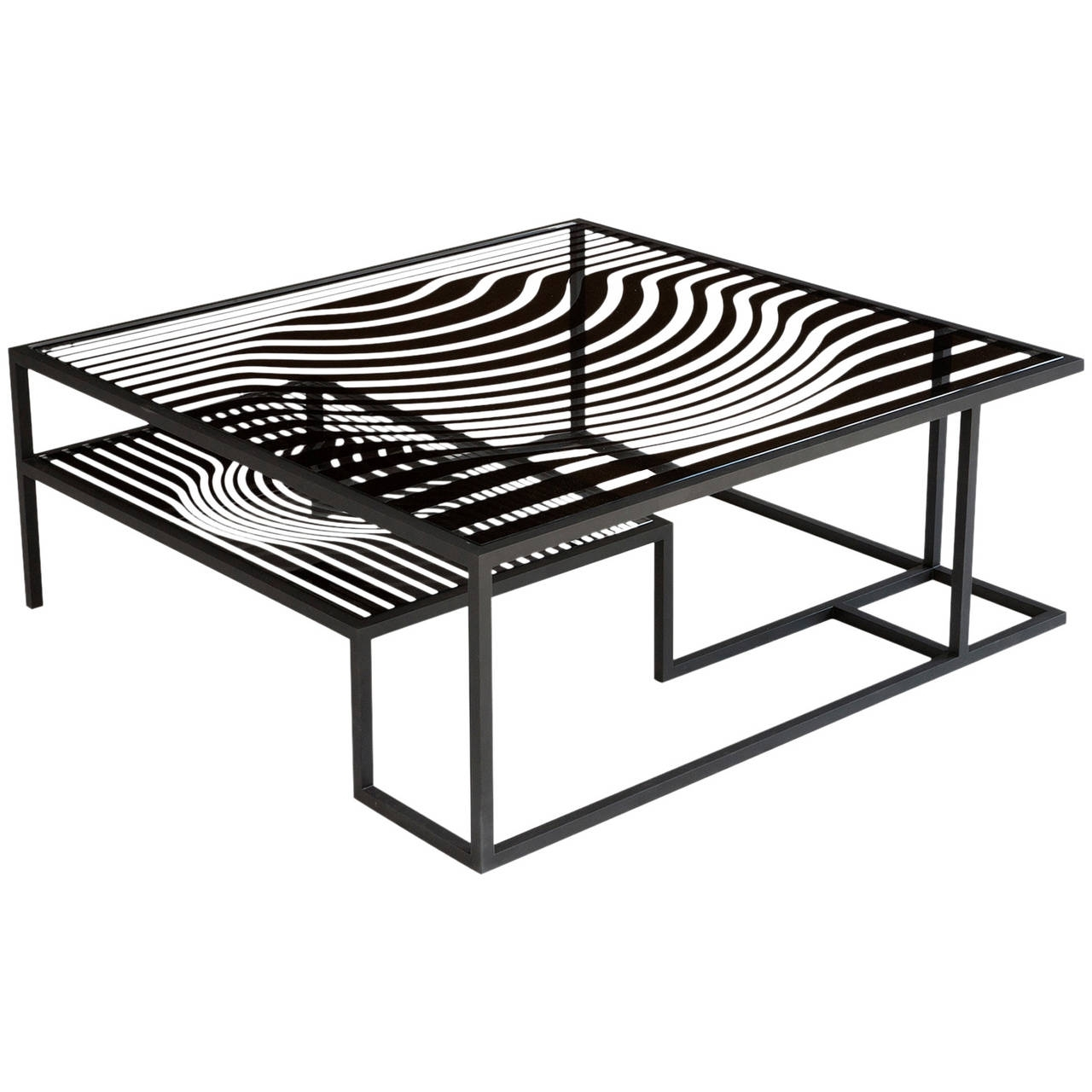 "Latest Logan Cocktail Tables In Op Art"" Glass And Metal Cocktail Table In The Manner Of Victor (View 5 of 20)"