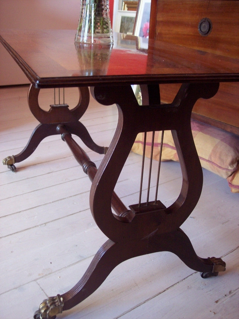 Latest Lyre Coffee Tables Intended For Vintage Retro Mahogany Lyre Pedestal / Base Coffee Table, Occasional (View 8 of 20)