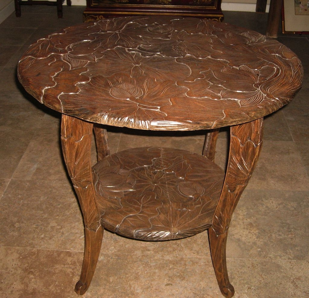Latest Round Carved Wood Coffee Tables Within Round Carved Wood Lotus Table Dynasty Collections Wood Trunk Table (View 17 of 20)