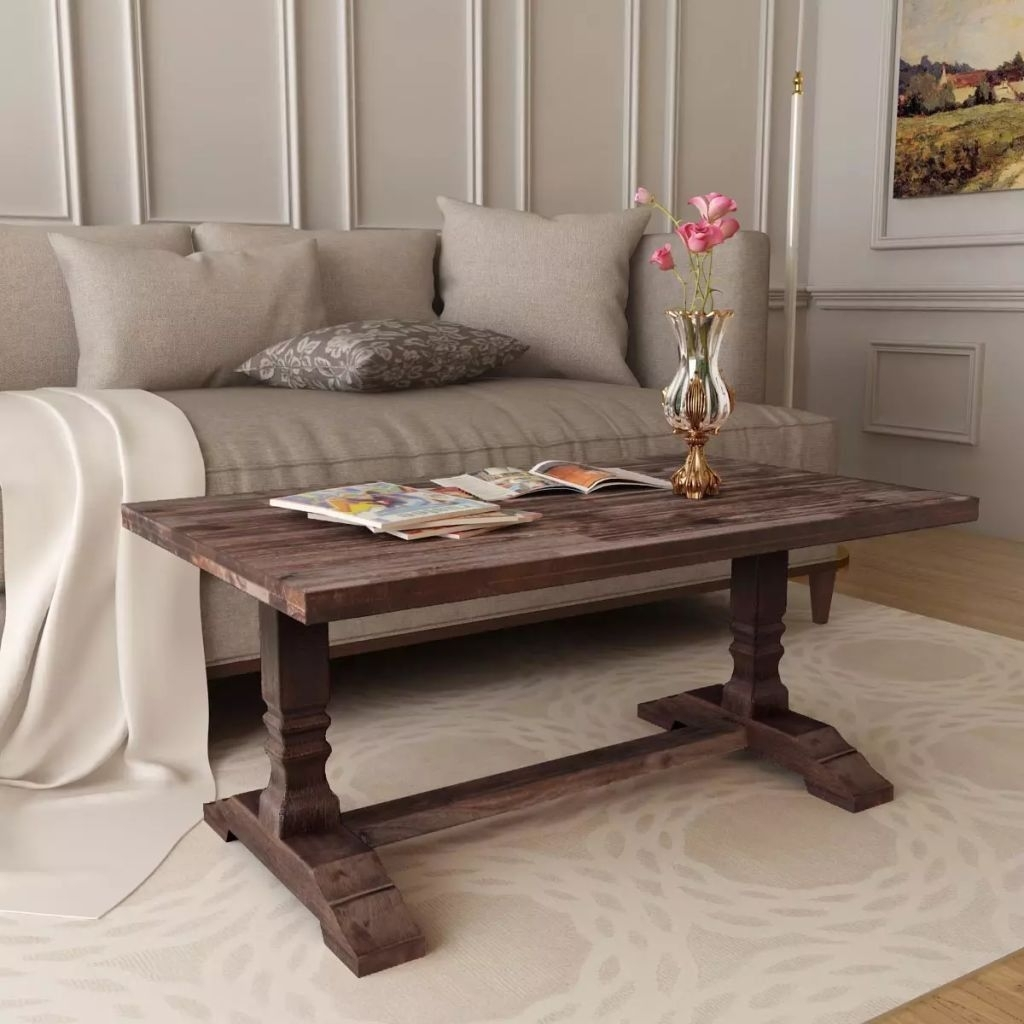 Latest Vintage Wood Coffee Tables With Vintage Solid Wood Coffee Table Living Room Furniture Rustic Brown (View 7 of 20)