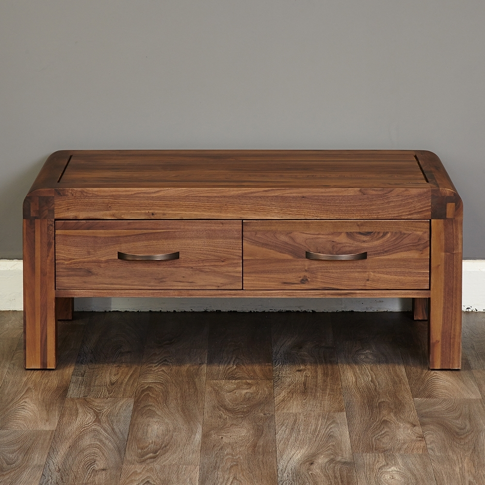Latest Walnut 4 Drawer Coffee Tables With Inadam Furniture – 110cm 4 Drawer Coffee Table – Retro Solid Walnut (View 4 of 20)