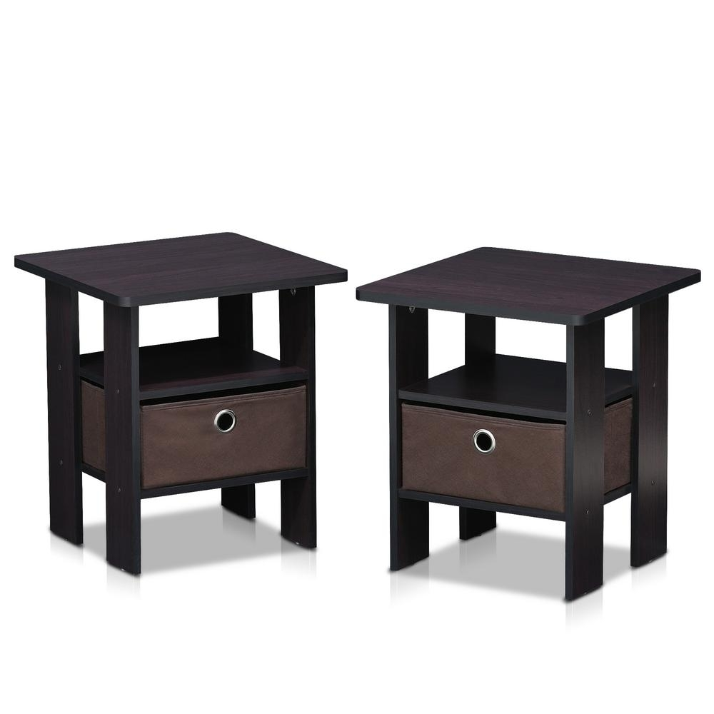 Latest Walnut Finish 6 Drawer Coffee Tables Pertaining To Furinno Home Living Dark Walnut Storage End Table (set Of 2) (View 17 of 20)