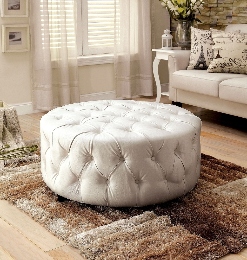 Latoya White Bonded Leather Round Button Tufted Ottoman With Regard To Well Known Button Tufted Coffee Tables (View 20 of 20)