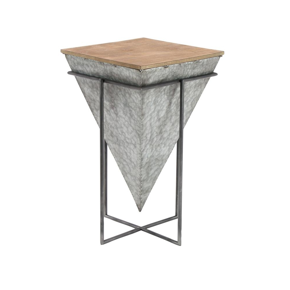 Litton Lane Gray Inverted Pyramid Shaped Accent Table With Beige Intended For Well Liked Inverted Triangle Coffee Tables (View 9 of 20)