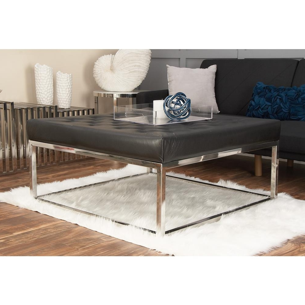 Litton Lane Modern Black And Silver Button Tufted Coffee Table 59654 Pertaining To Newest Button Tufted Coffee Tables (View 5 of 20)