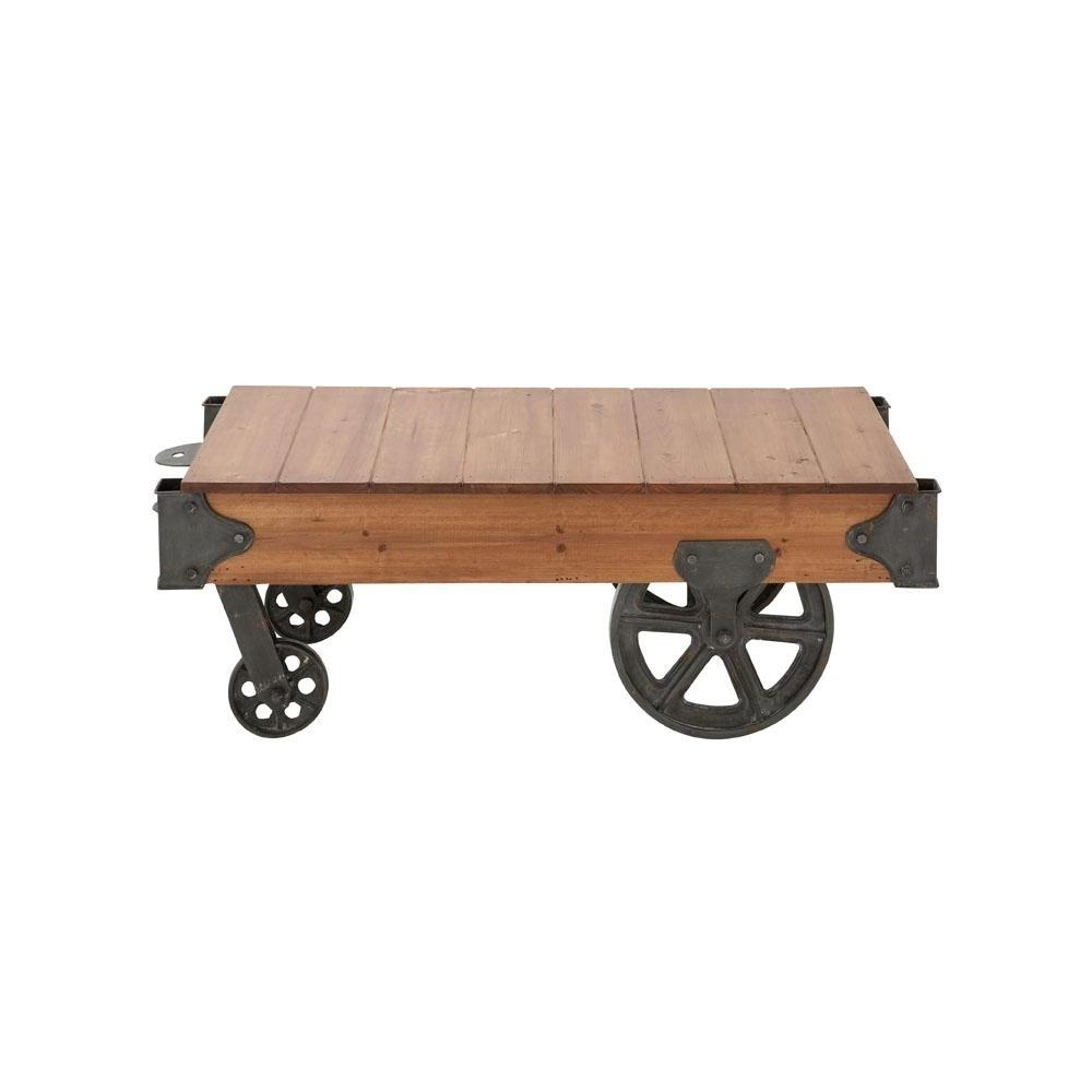 Litton Lane Natural Brown Rectangular Birch Wood Coffee Table Cart Regarding Trendy Natural Wheel Coffee Tables (View 8 of 20)