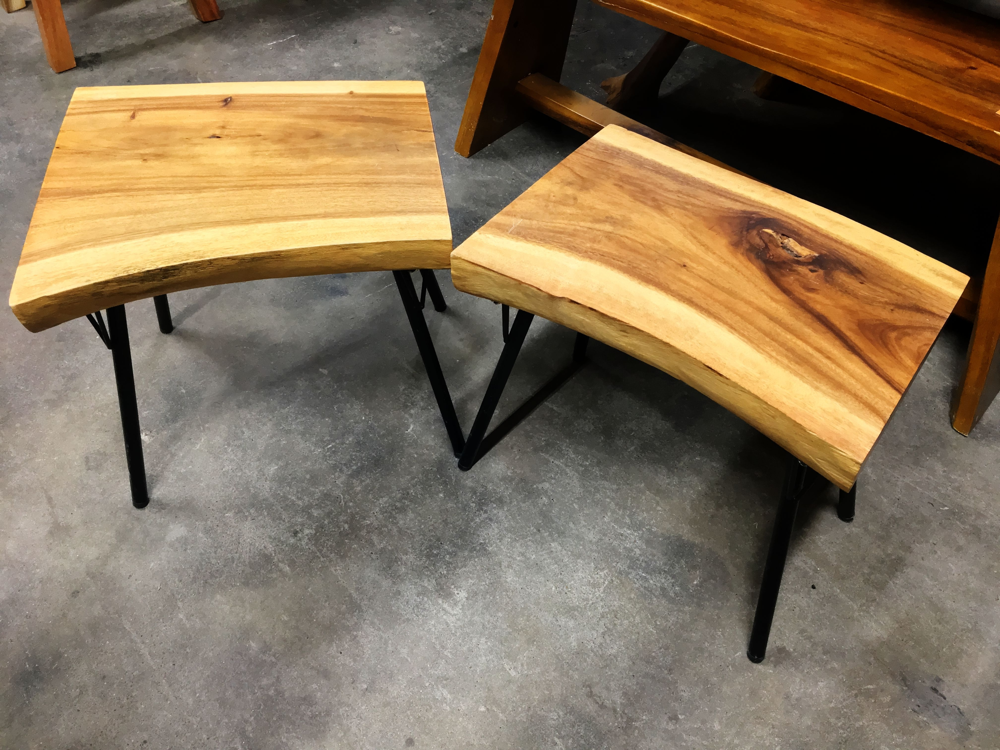 Live Edge Teak Side Table – Metal Legs – Primefurniturehouston With Most Current Live Edge Teak Coffee Tables (View 12 of 20)