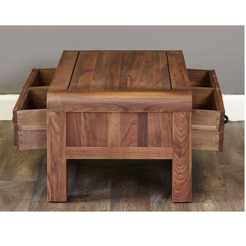 Lounge Walnut Coffee Table 4 Drawers – Azura Home Style With Famous Walnut 4 Drawer Coffee Tables (View 8 of 20)