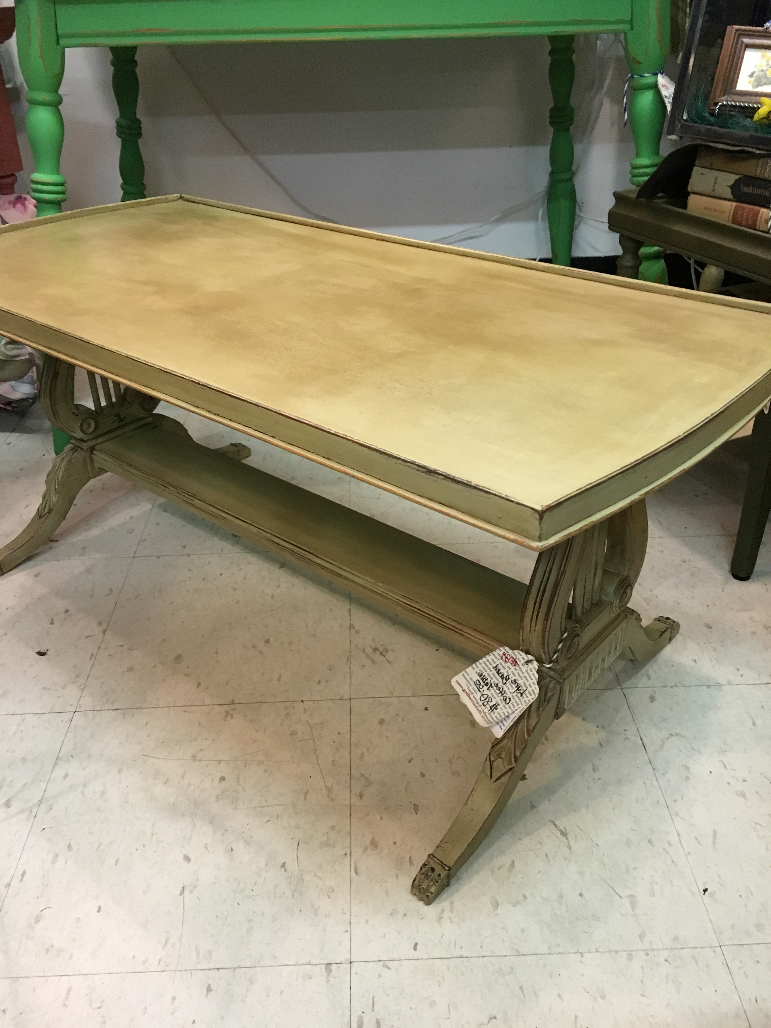 Lyre Based Coffee Table $80 Sold – The Turned Leg For Latest Lyre Coffee Tables (View 9 of 20)