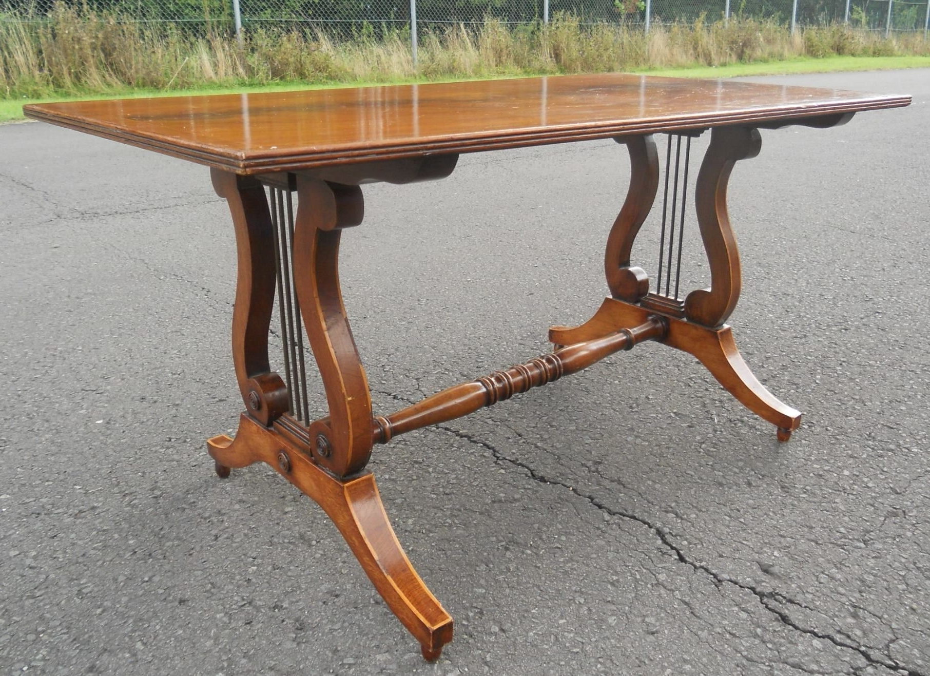 Lyre End Mahogany Rectangular Coffee Table For Famous Lyre Coffee Tables (View 7 of 20)