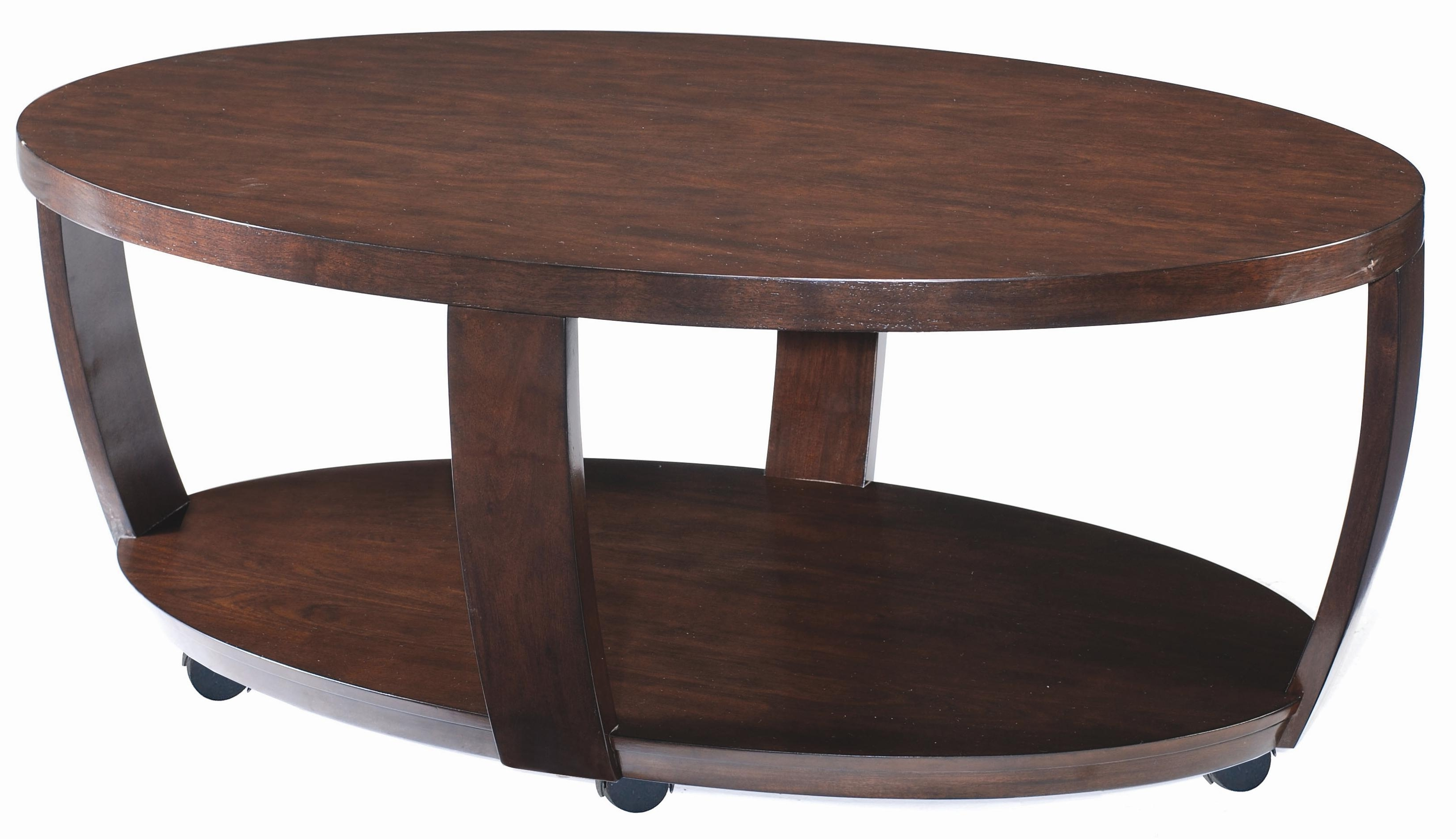 Magnussen Home Sotto Oval Cocktail Table With Casters – Ahfa With Latest Ontario Cocktail Tables With Casters (View 13 of 20)