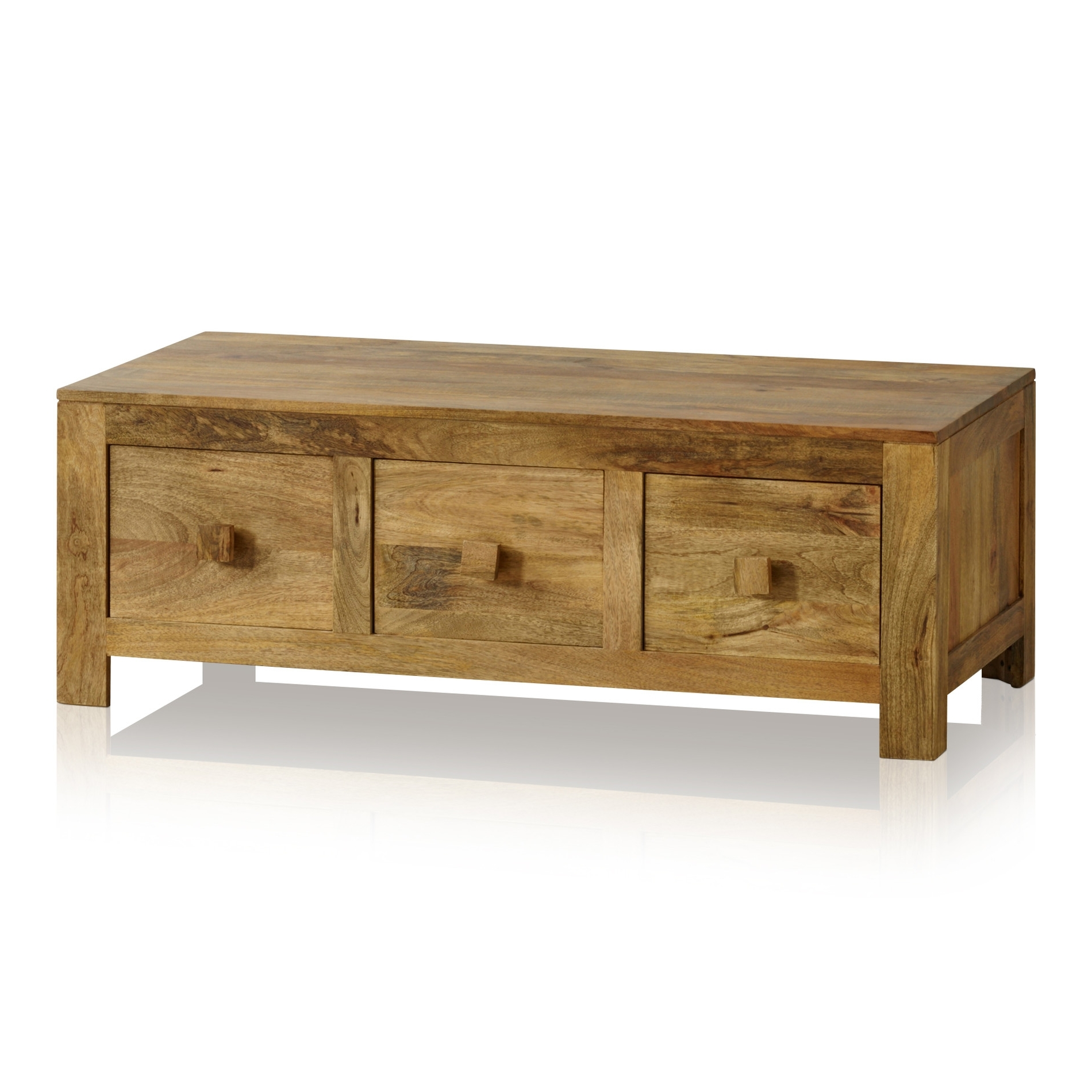 Mantis Light 6 Drawer Coffee Table In Natural Solid Mango With Best And Newest Natural 2 Drawer Shutter Coffee Tables (View 5 of 20)