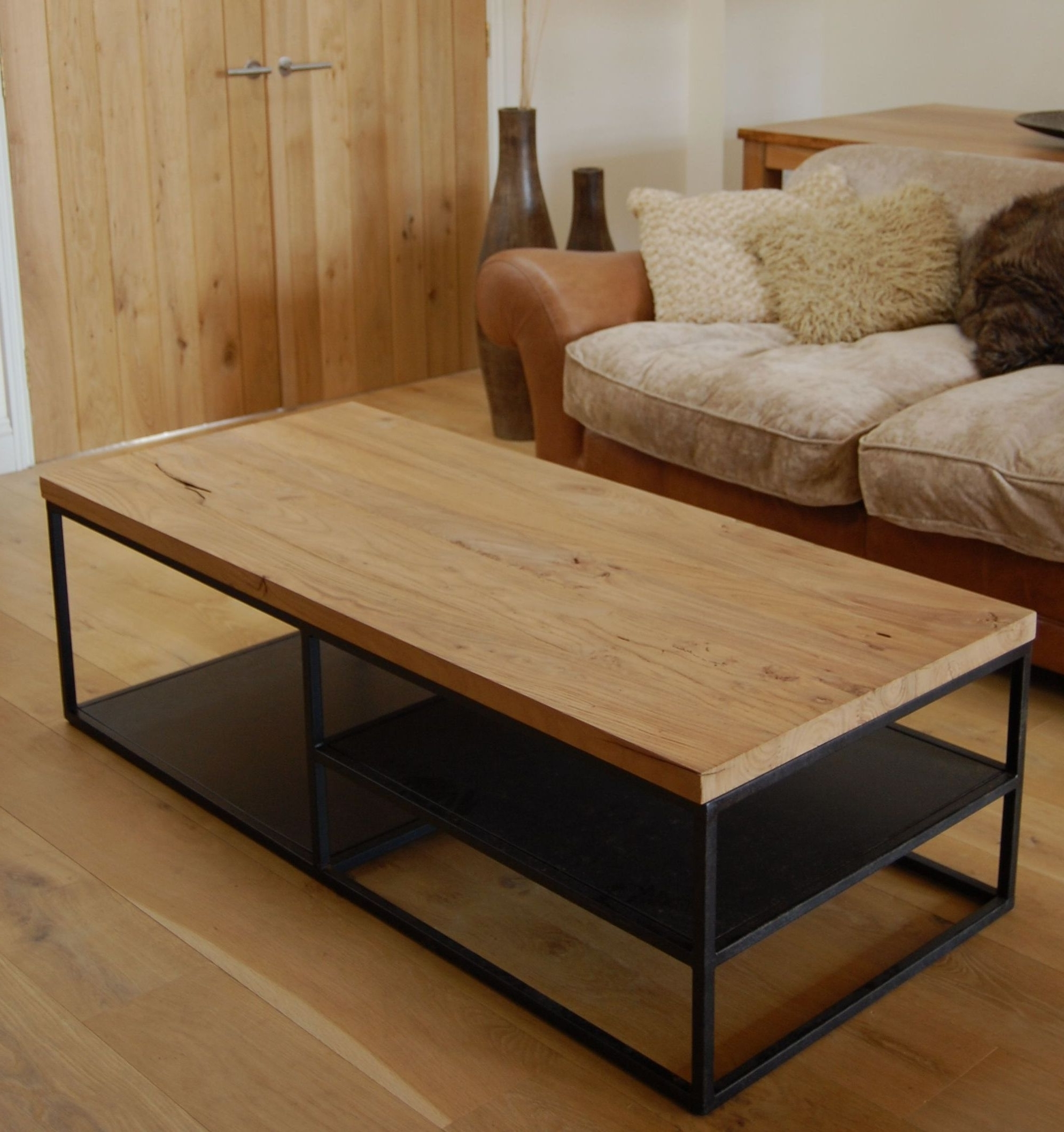 Masculine Reclaimed Wood Coffee Table Glass Top For Wood Table Inside Newest Waxed Metal Coffee Tables (View 7 of 20)