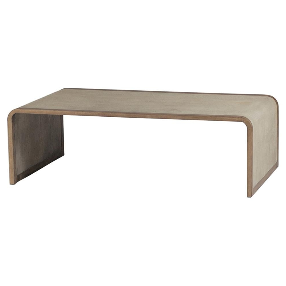 Mattie Modern Tan Faux Shagreen Waterfall Coffee Table For Current Waterfall Coffee Tables (View 9 of 20)