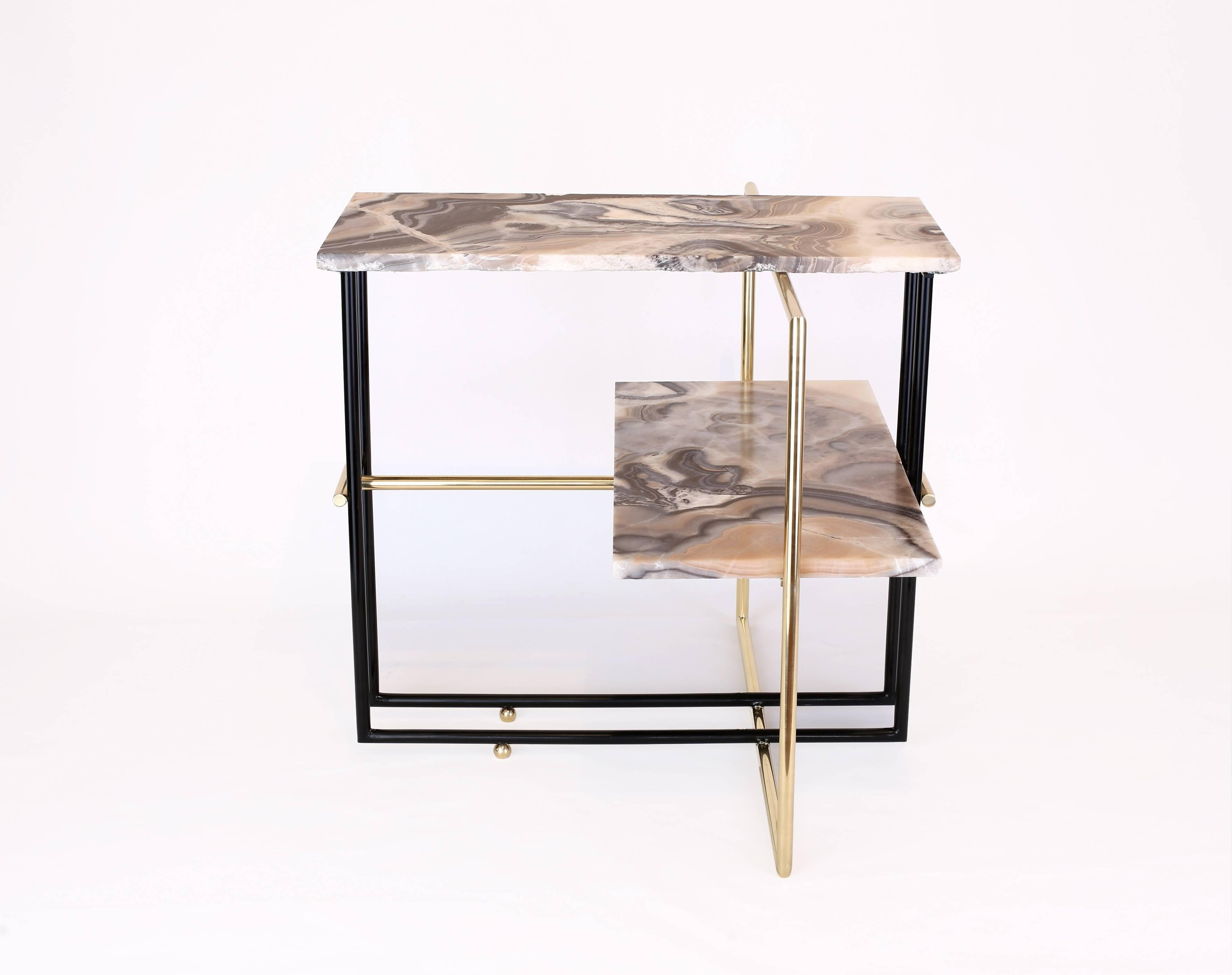Mexican Onyx Stone And Brass Uña Side Coffee Table Designnomade Intended For Favorite Casbah Coffee Side Tables (View 7 of 20)