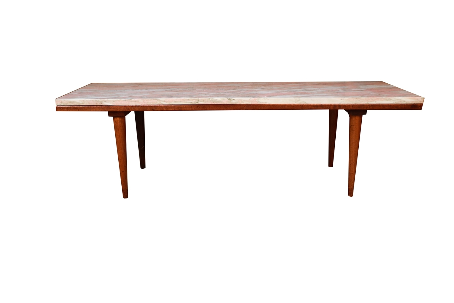 Mid Century Modern Marble Top Slat Bench Coffee Table – Intended For Widely Used Mid Century Modern Marble Coffee Tables (View 10 of 20)