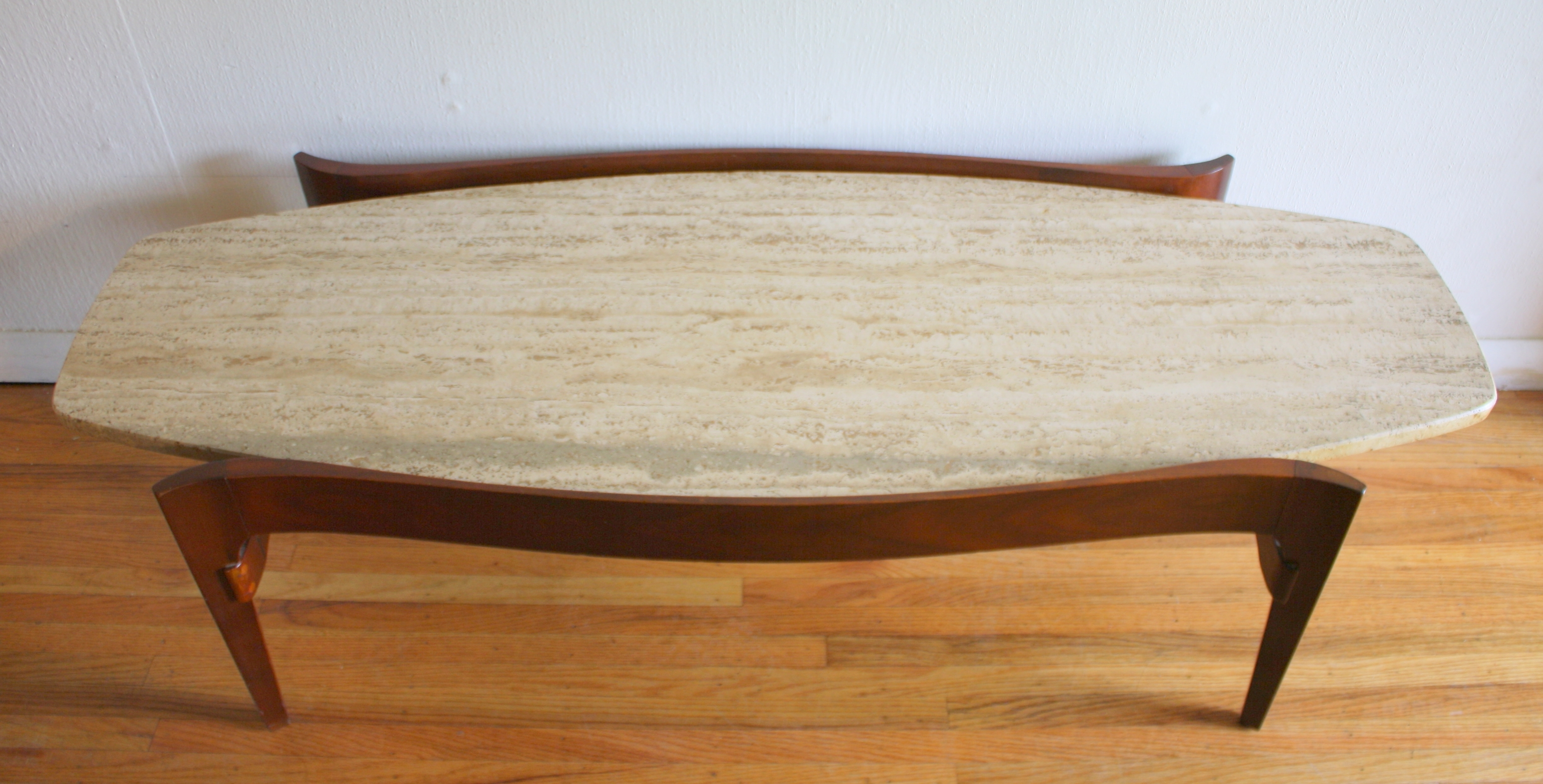 Mid Century Modern Surfboard Coffee Table With Floating Marble Top Pertaining To Most Current Mid Century Modern Marble Coffee Tables (View 11 of 20)
