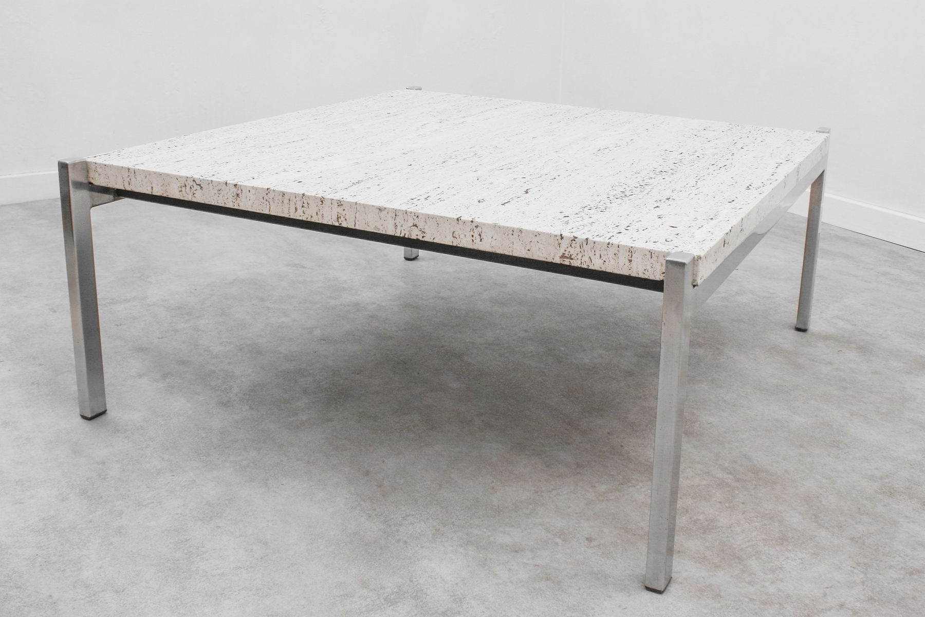 Minimalist Travertine & Steel Coffee Table, 1960S For Sale At Pamono In Most Up To Date Minimalist Coffee Tables (View 10 of 20)