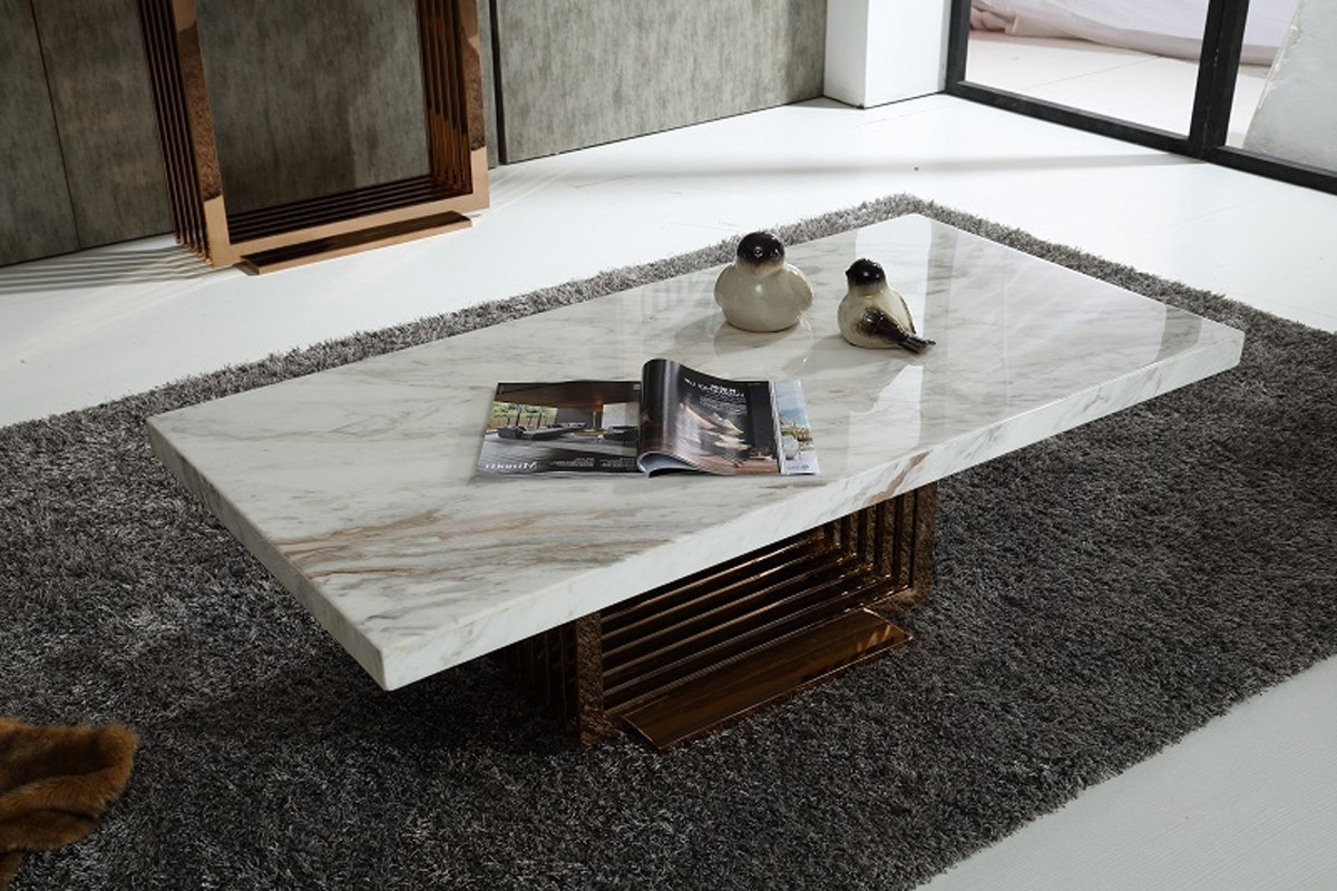 Modern Marble Top And Rosegold Base Coffee Table Fort Worth Texas Pertaining To Well Known 2 Tone Grey And White Marble Coffee Tables (View 13 of 20)