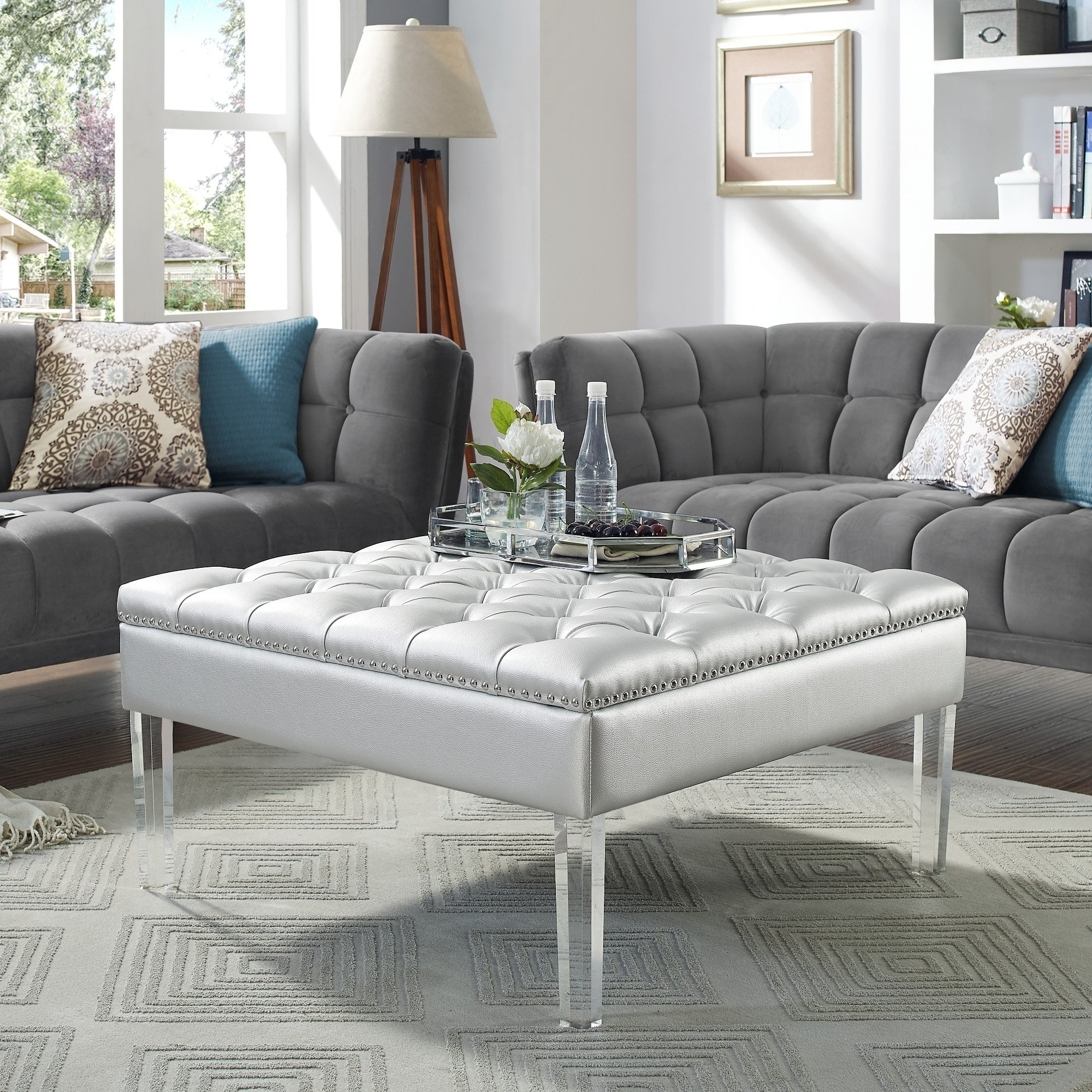 Most Current Button Tufted Coffee Tables Pertaining To Shop Vivian Leather Oversized Button Tufted Ottoman Coffee Table (View 3 of 20)