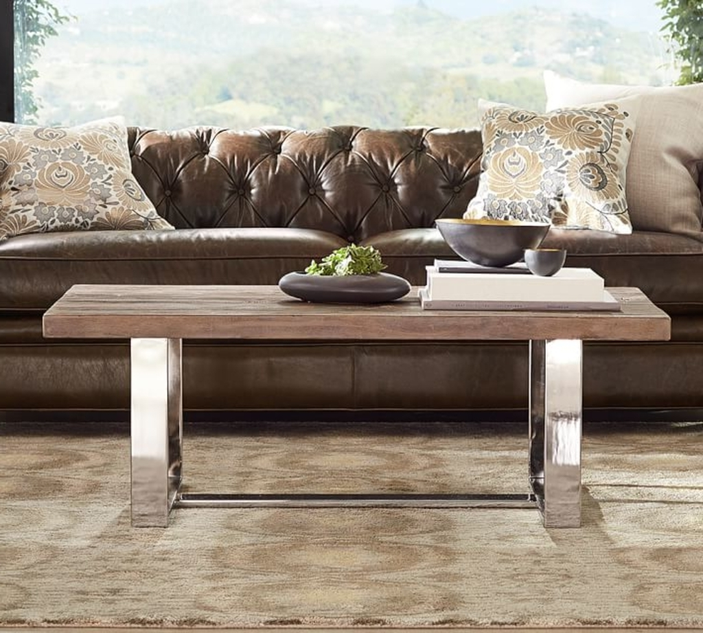 Most Current Geo Faceted Coffee Tables Throughout Design Ideas: Metal And Wood Coffee Table From Pottery Barn – A  (View 7 of 20)