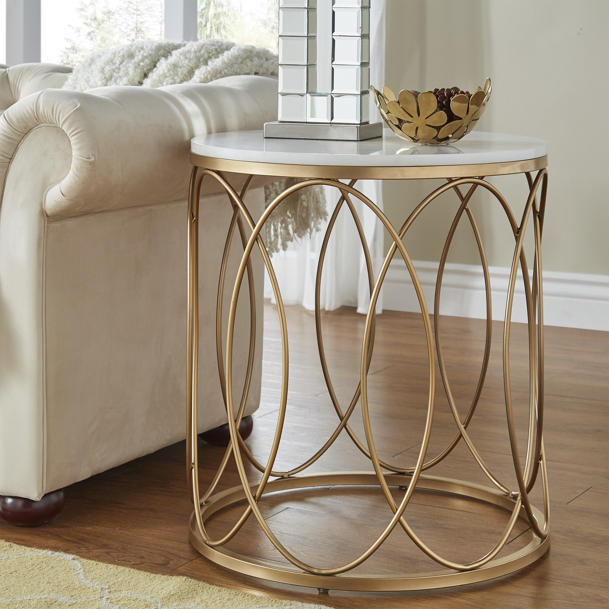 Most Current Jackson Marble Side Tables For Shop Lynn Round Gold End Table With Marble Topinspire Q Bold (View 5 of 20)
