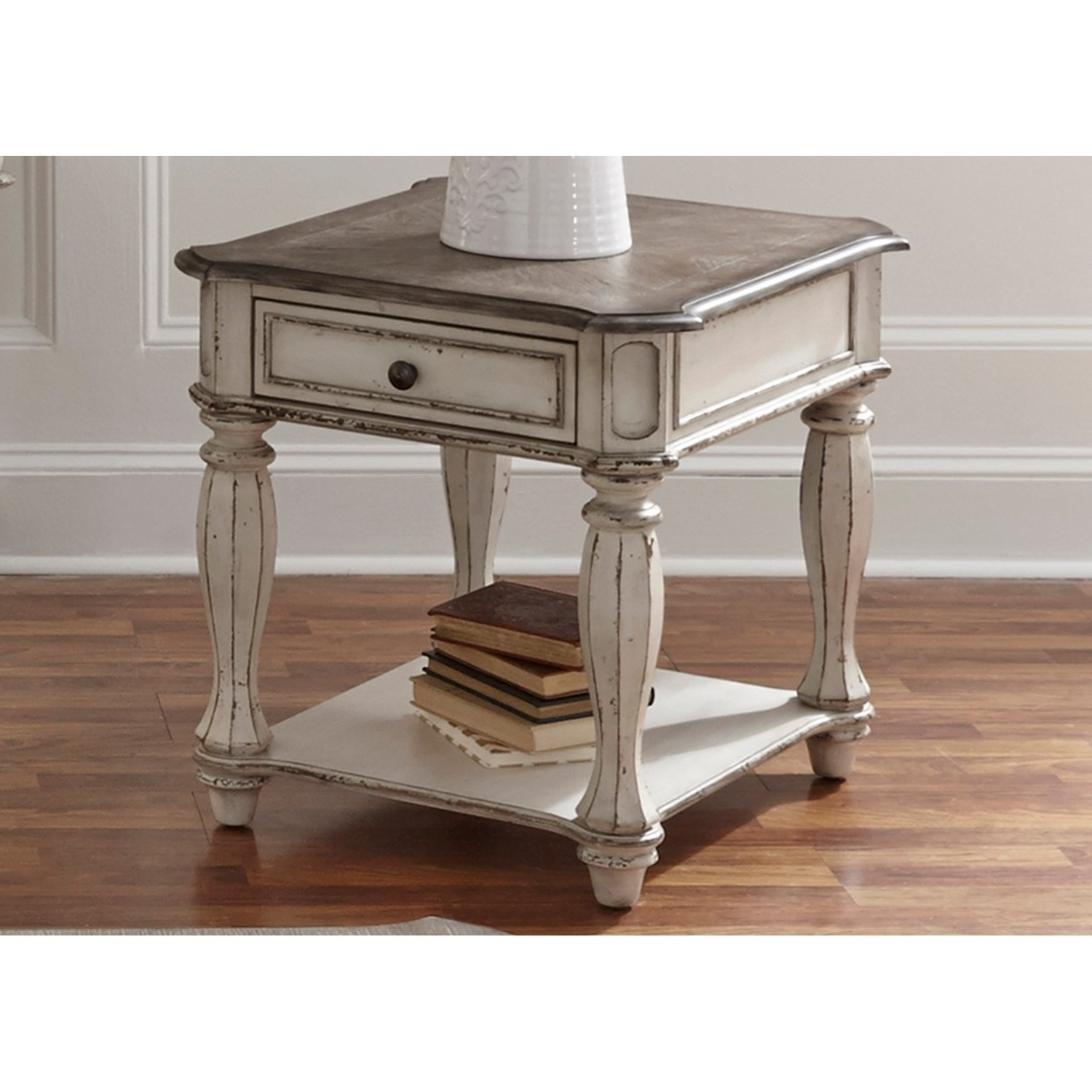 Most Current Magnolia Home Louver Cocktail Tables Pertaining To Shop Magnolia Manor Antique White End Table – On Sale – Free (View 12 of 20)