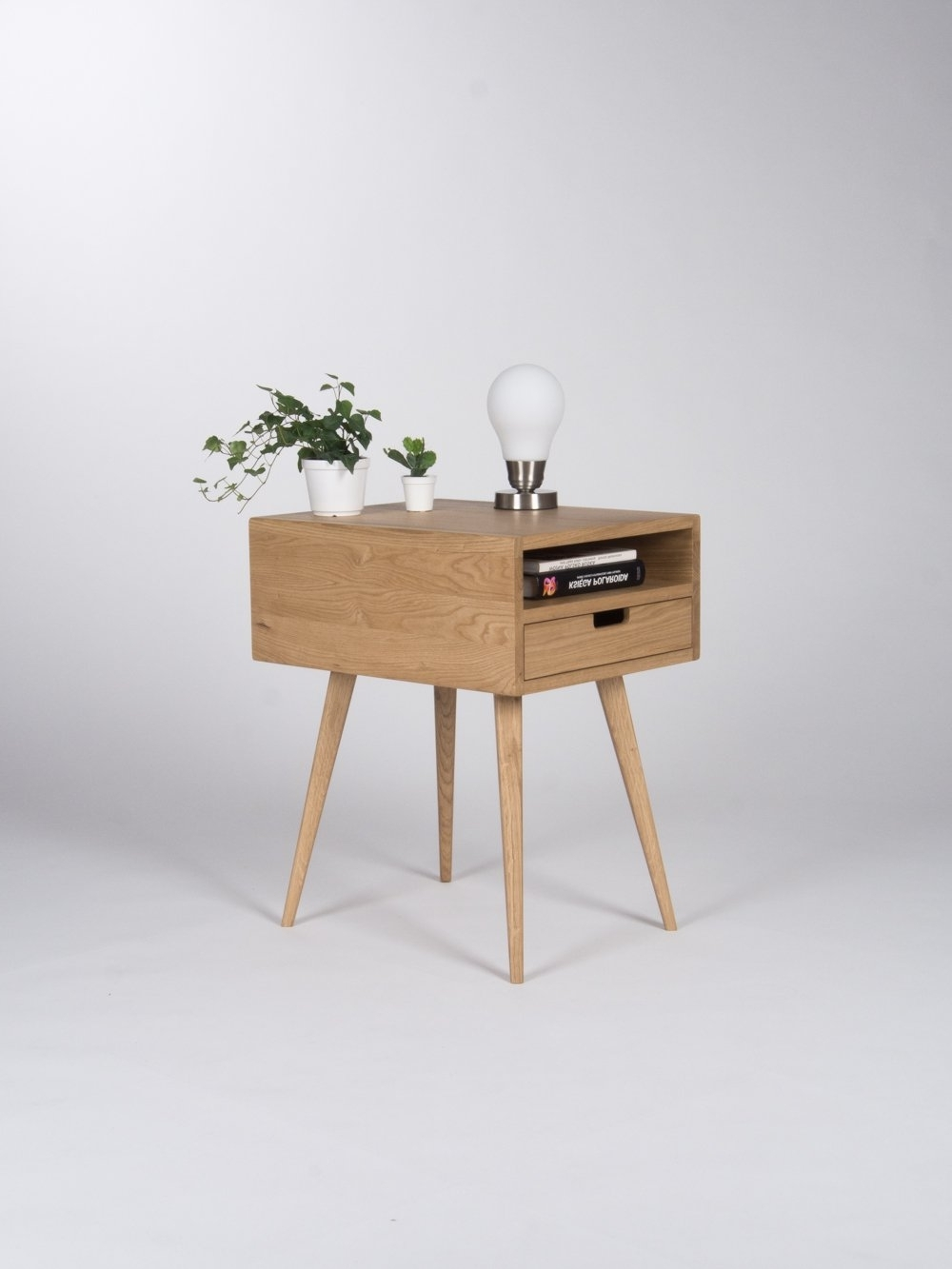 Most Current Mid Century Modern Egg Tables Within Nightstand, Bedside Table, End Table, With One Drawer And Open Shelf (View 8 of 20)