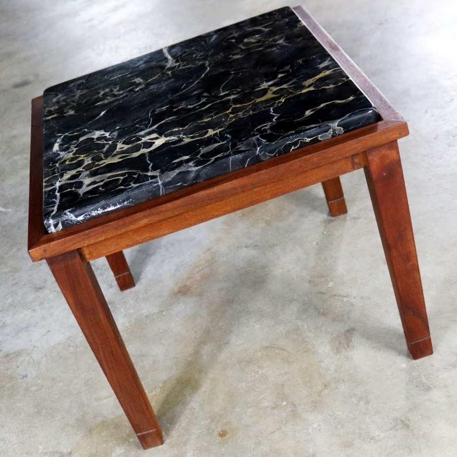 Most Current Mid Century Modern Marble Coffee Tables Within Mid Century Modern Walnut And Black Marble Square End Or Side Table – (View 13 of 20)