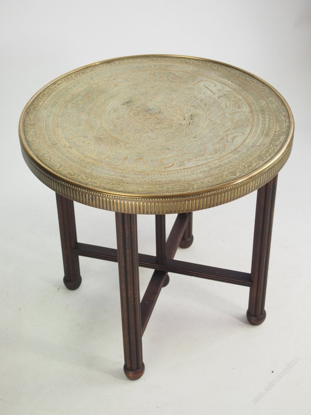 Most Popular Antique Brass Coffee Tables Regarding Berber Benares Brass Tray Top Coffee Table – Antiques Atlas (View 4 of 20)