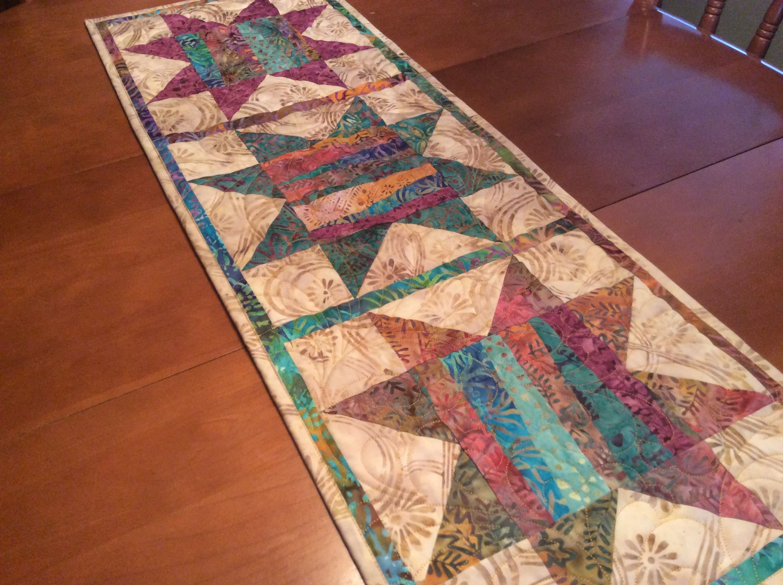 Most Popular Batik Coffee Tables Inside Batik Table Runner, Quilted Traditional Star Table Topper, Colourful (View 15 of 20)