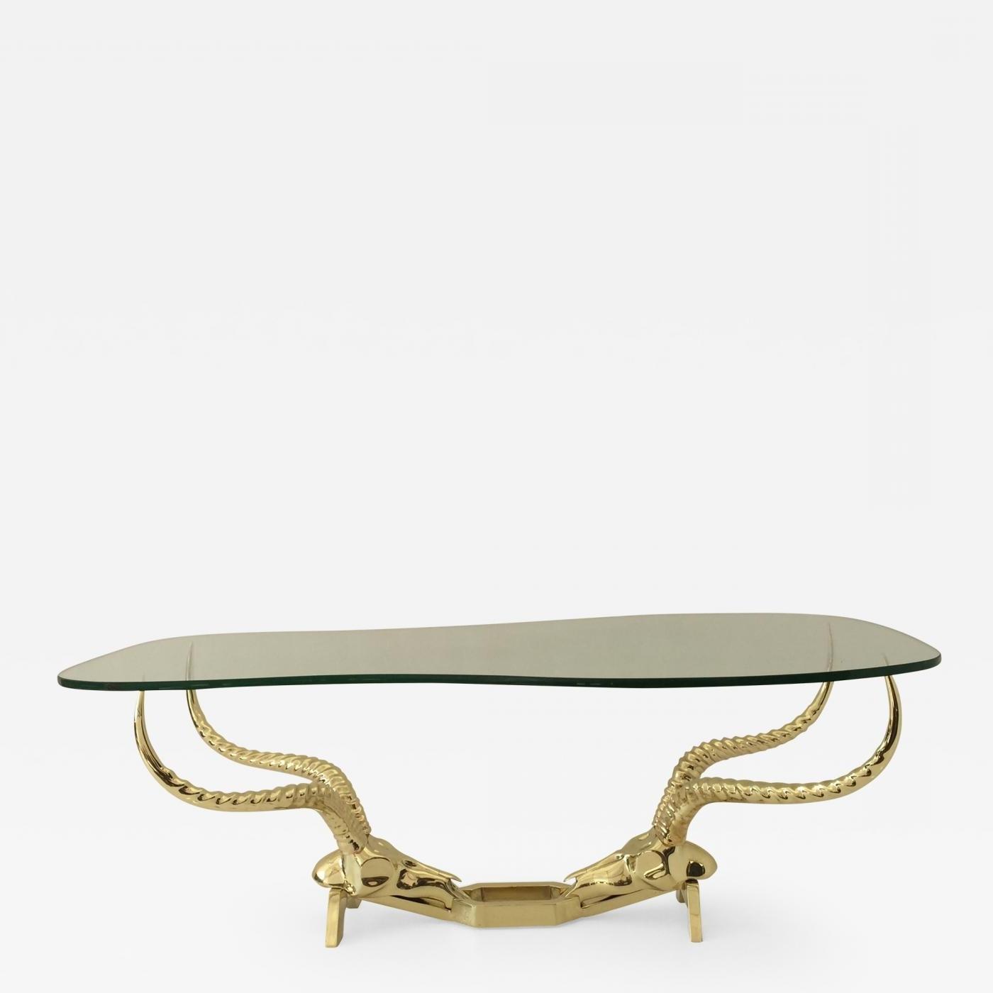 Most Popular Cacti Brass Coffee Tables Regarding Alain Chervet – Brass Ibex Ram Head Coffee Tablefondica (View 9 of 20)