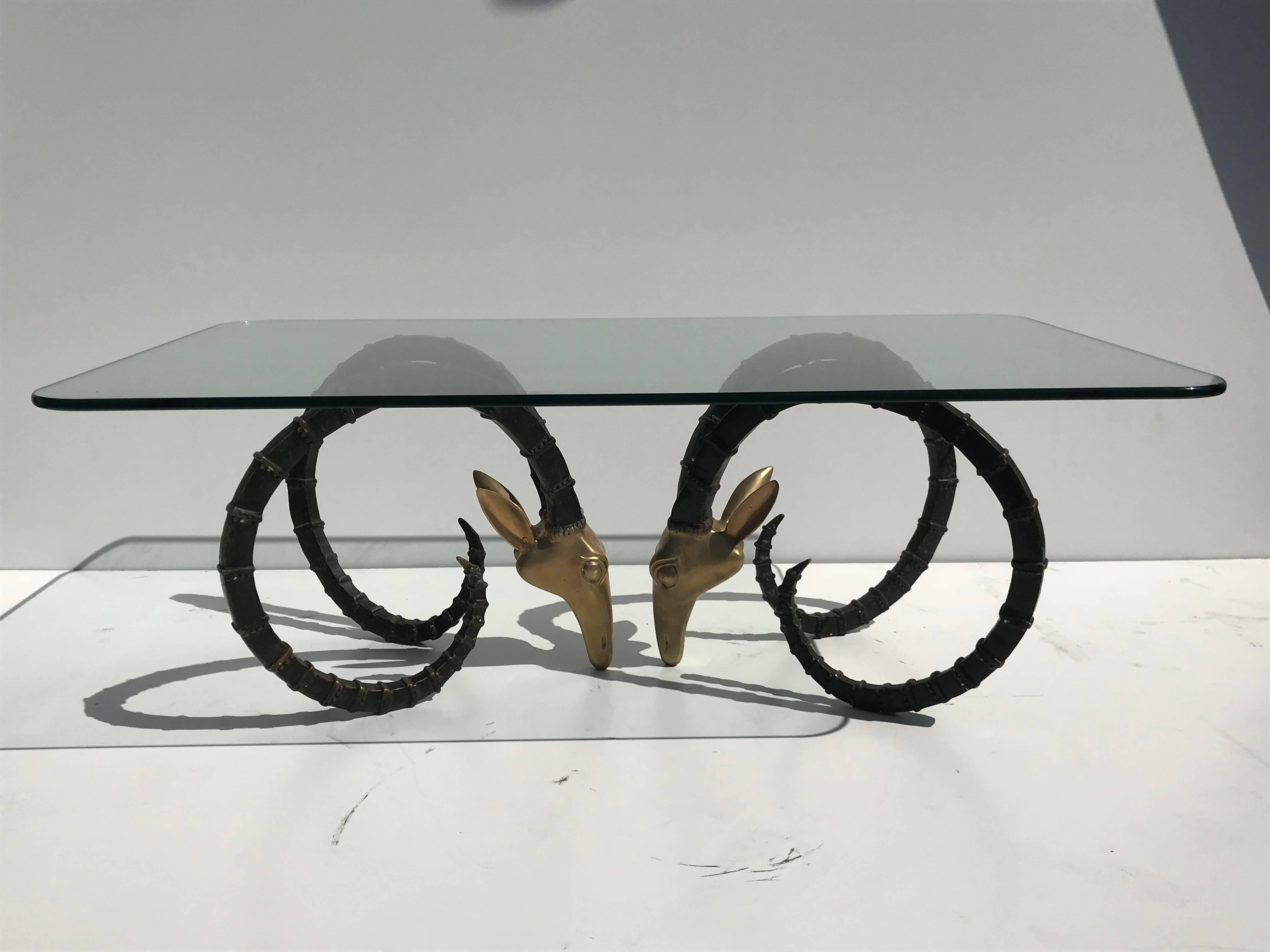 Most Popular Cacti Brass Coffee Tables Within Brass Ibex Or Ram Head Coffee Table For Sale At 1stdibs (View 19 of 20)