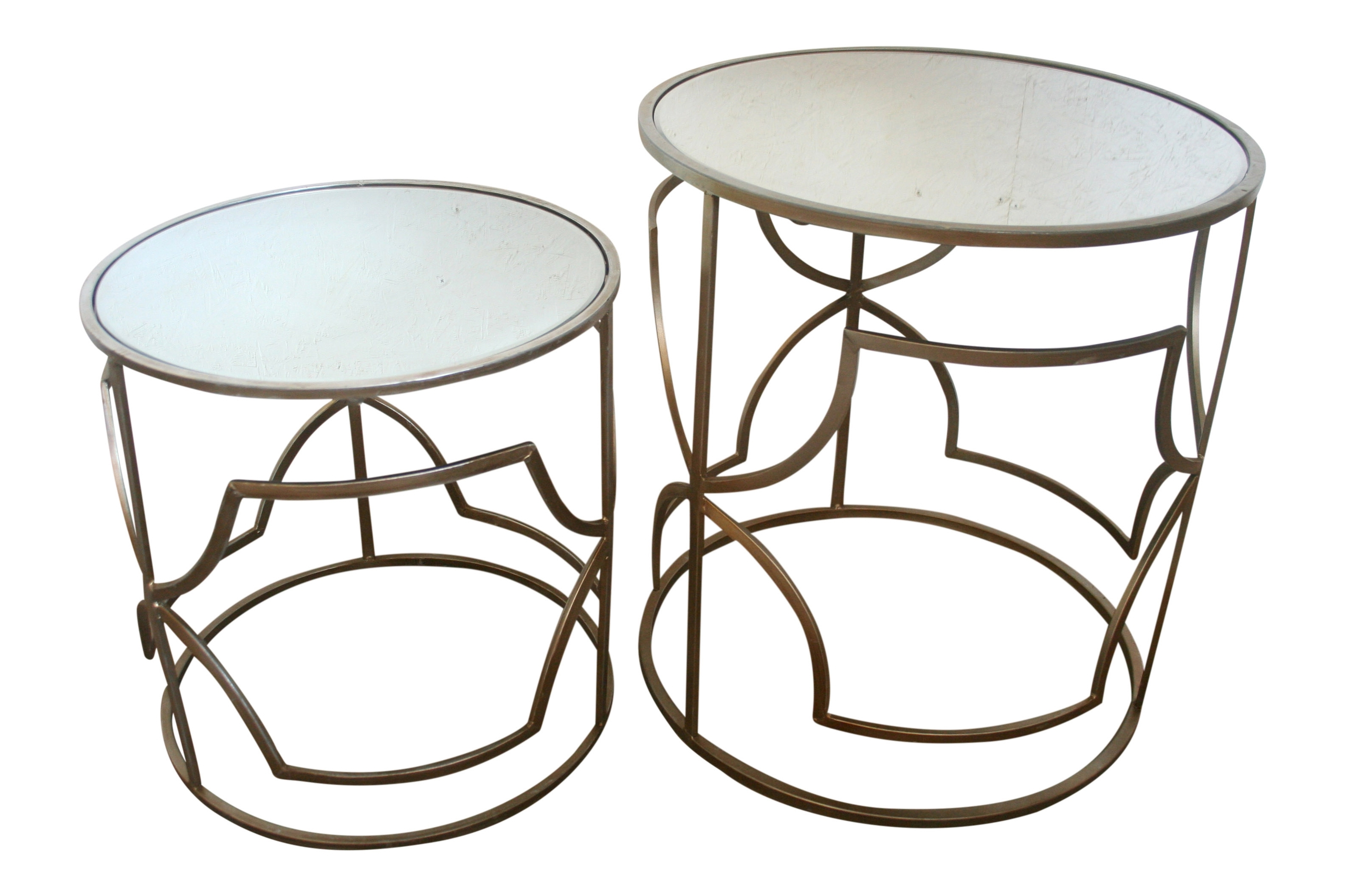 Most Popular Geo Faceted Coffee Tables Pertaining To Champagne Geo End Table – Lrg (2)+Sm (2) (View 9 of 20)