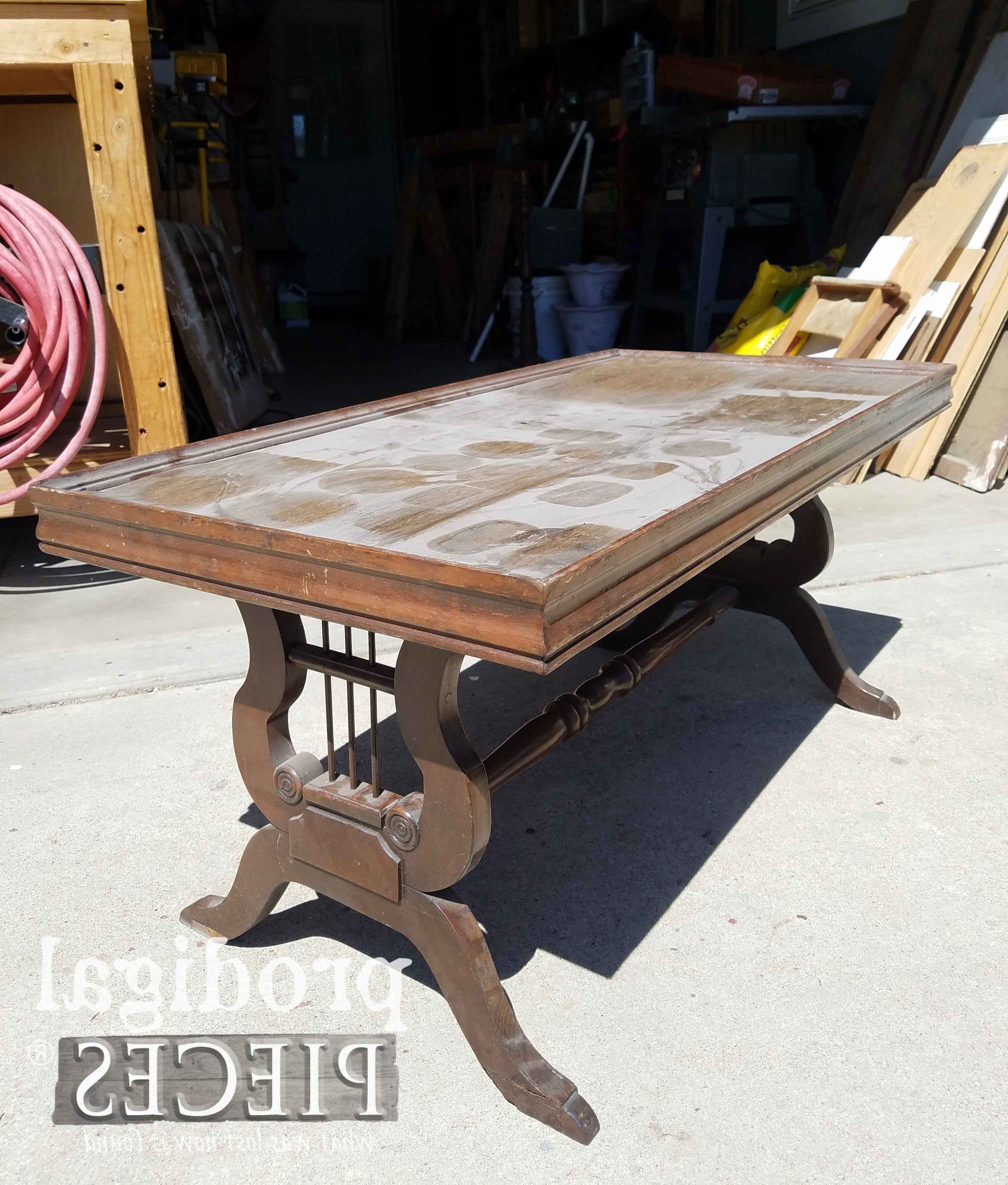 Most Popular Lyre Coffee Tables Pertaining To Antique Lyre Coffee Table Rescued & Restored – Prodigal Pieces (View 3 of 20)