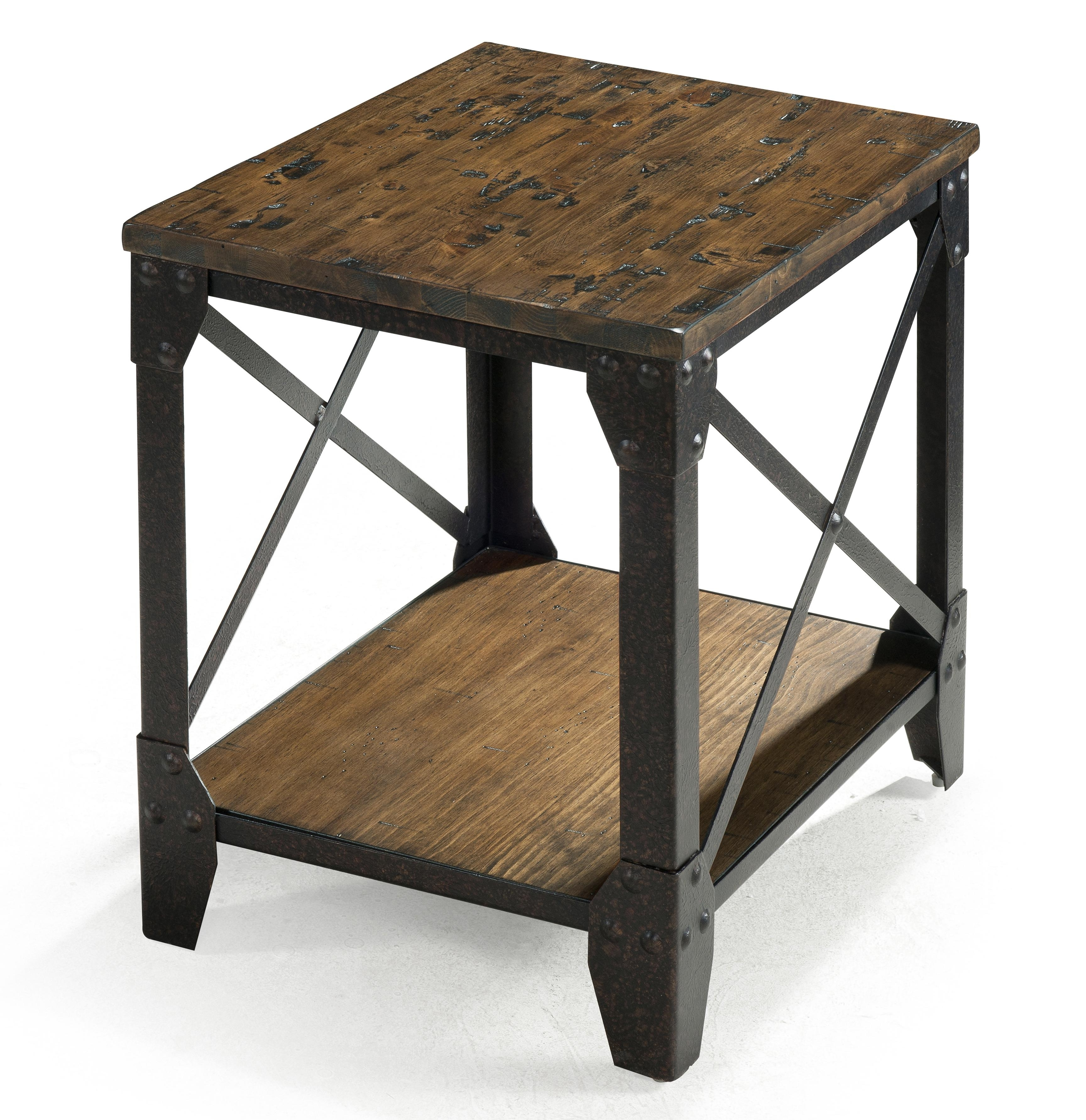 Most Popular Reclaimed Pine & Iron Coffee Tables Throughout Magnussen Home Pinebrook Small Rectangular End Table With Rustic (View 9 of 20)
