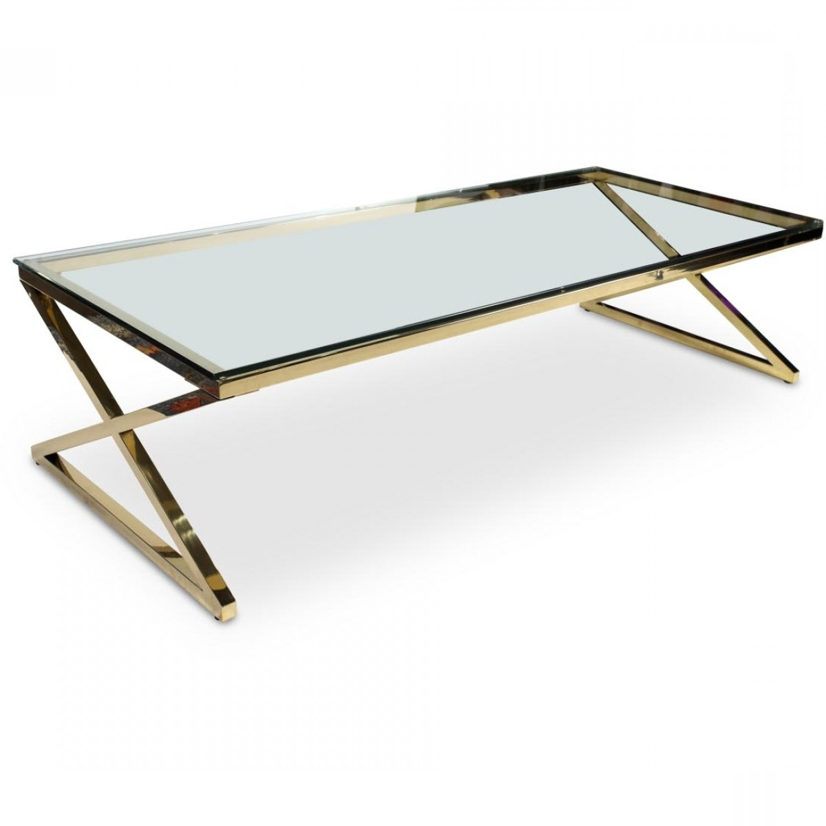 Most Popular Rectangular Coffee Tables With Brass Legs Intended For Aico Michael Amini Trance Stacy Rectangular Cocktail Table With (View 11 of 20)
