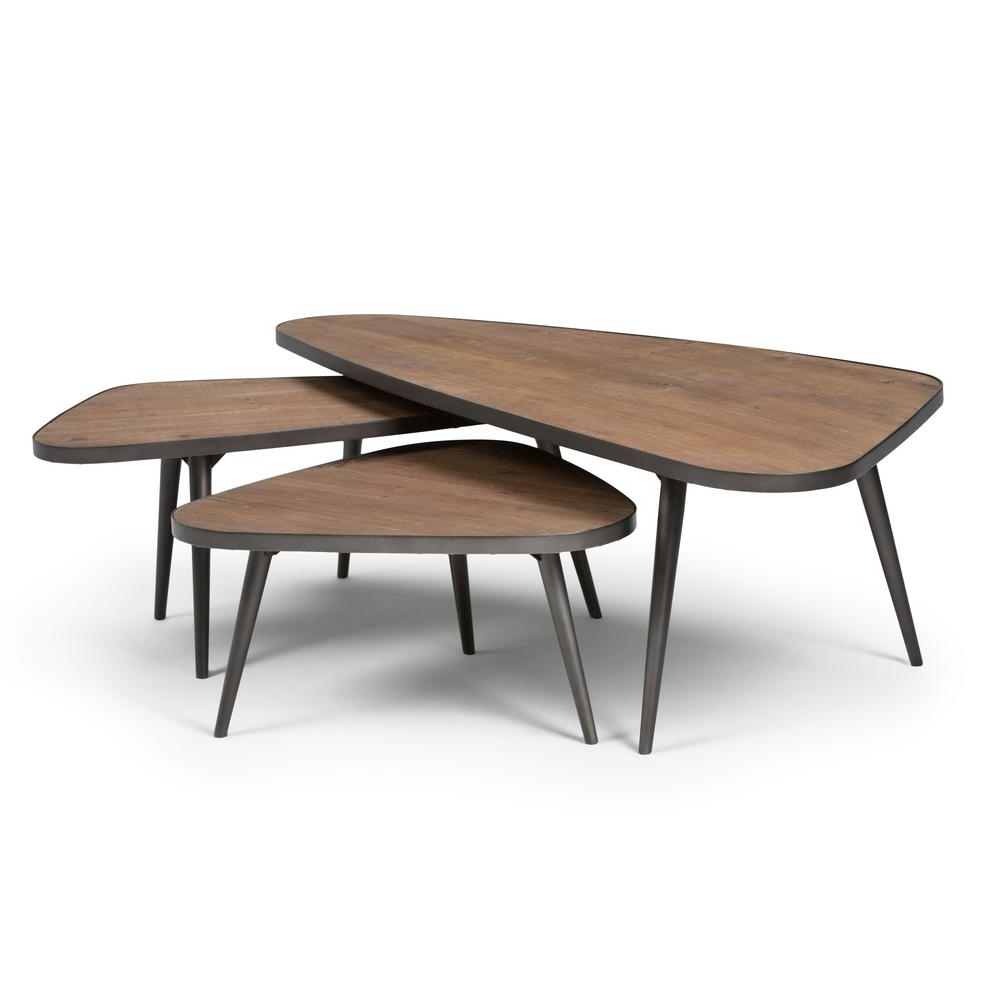 Most Popular Set Of Nesting Coffee Tables Within Simpli Home Aubrey Distressed Wood 3 Piece Nesting Coffee Table Set (View 8 of 20)