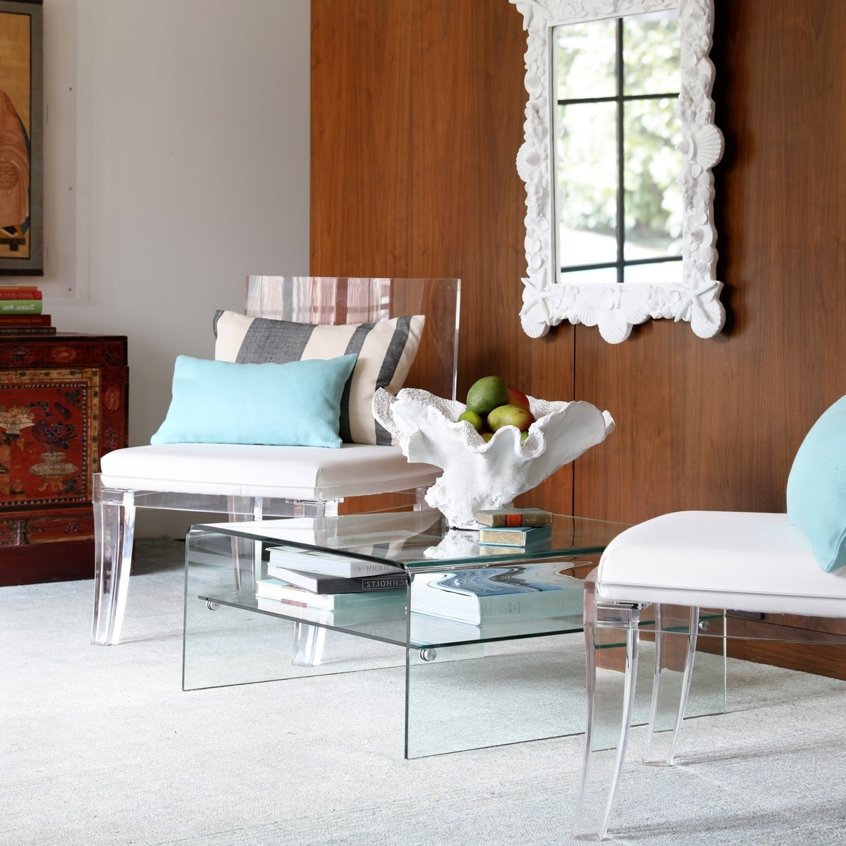Most Popular Stately Acrylic Coffee Tables Intended For Square Waterfall Coffee Table (View 7 of 20)
