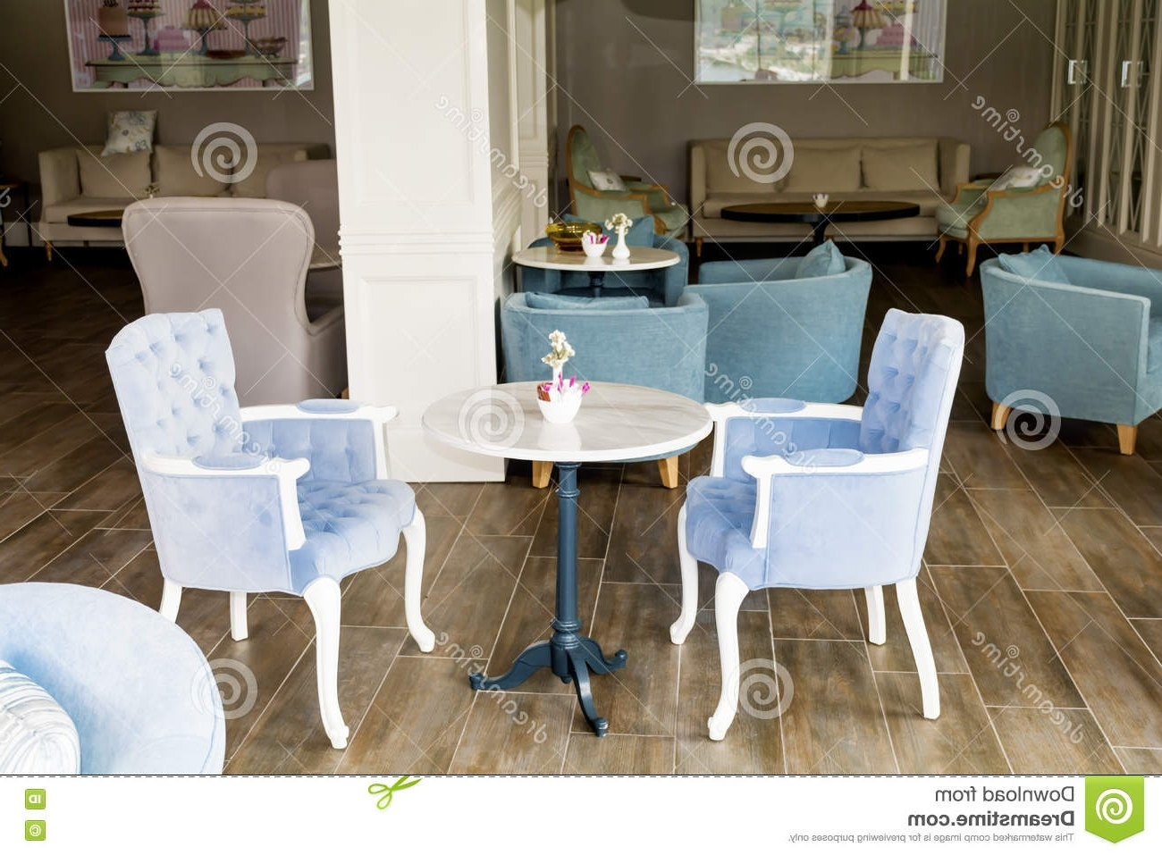 Most Popular Verona Cocktail Tables With Regard To Modern Bar Interior With Blue Chairs Editorial Image – Image Of (View 13 of 20)