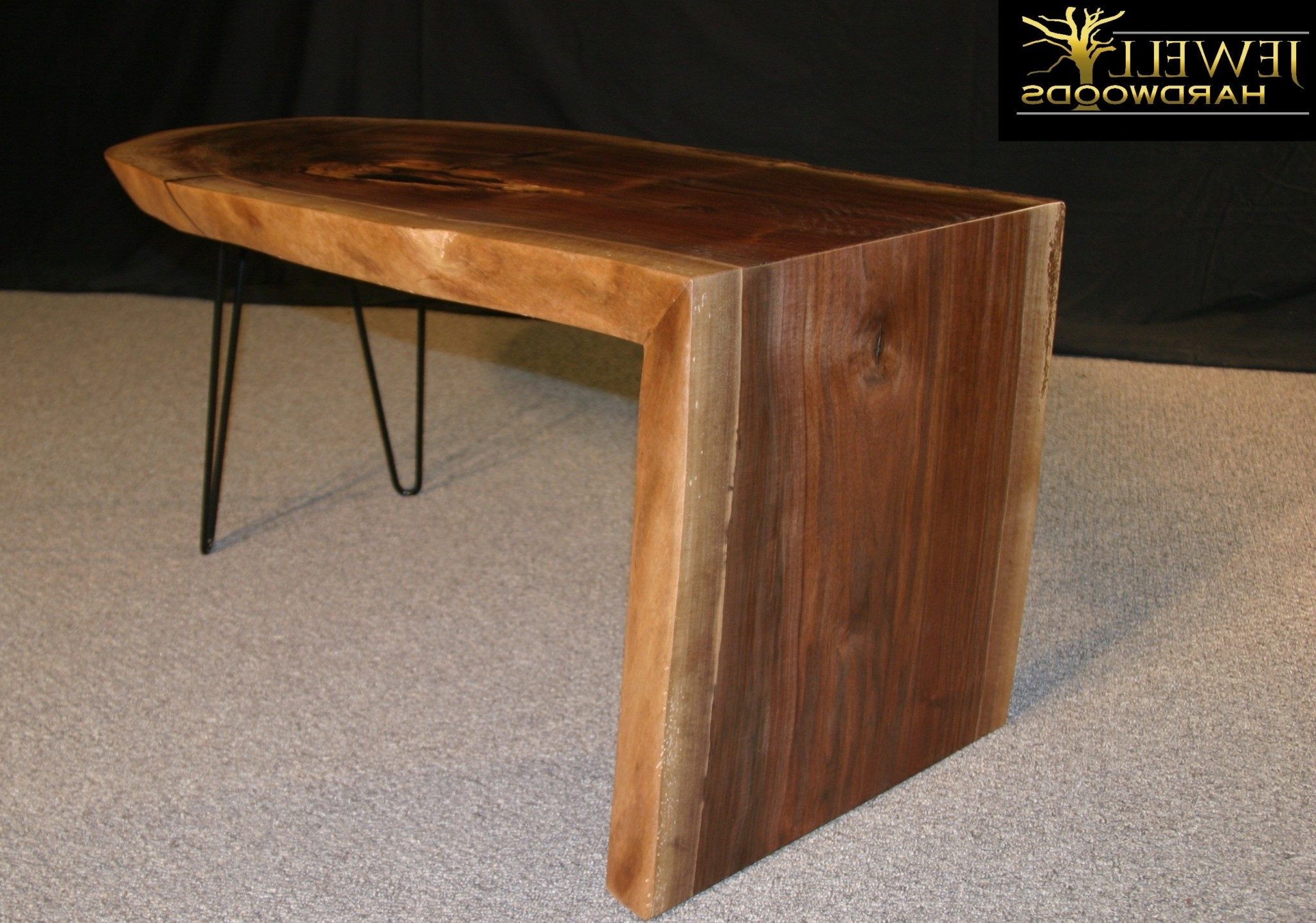 Most Popular Waterfall Coffee Tables For Waterfall Coffee Table With Metal Hairpins Jewell Hardwoods Logo (View 10 of 20)