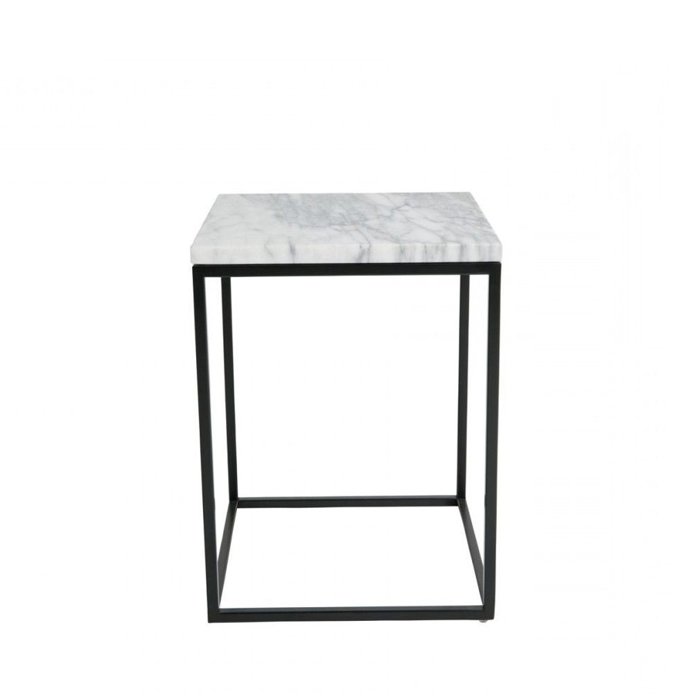 Most Recent Flat Black And Cobre Coffee Tables For Table D'appoint Carrée Marble Power Dutchbone (View 5 of 20)