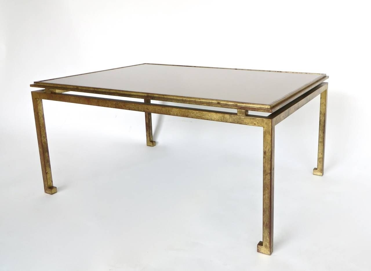 Most Recent Gold Leaf Collection Coffee Tables Intended For Maison Ramsay French Patina Gold Leaf Wrought Iron Coffee Table (View 13 of 20)